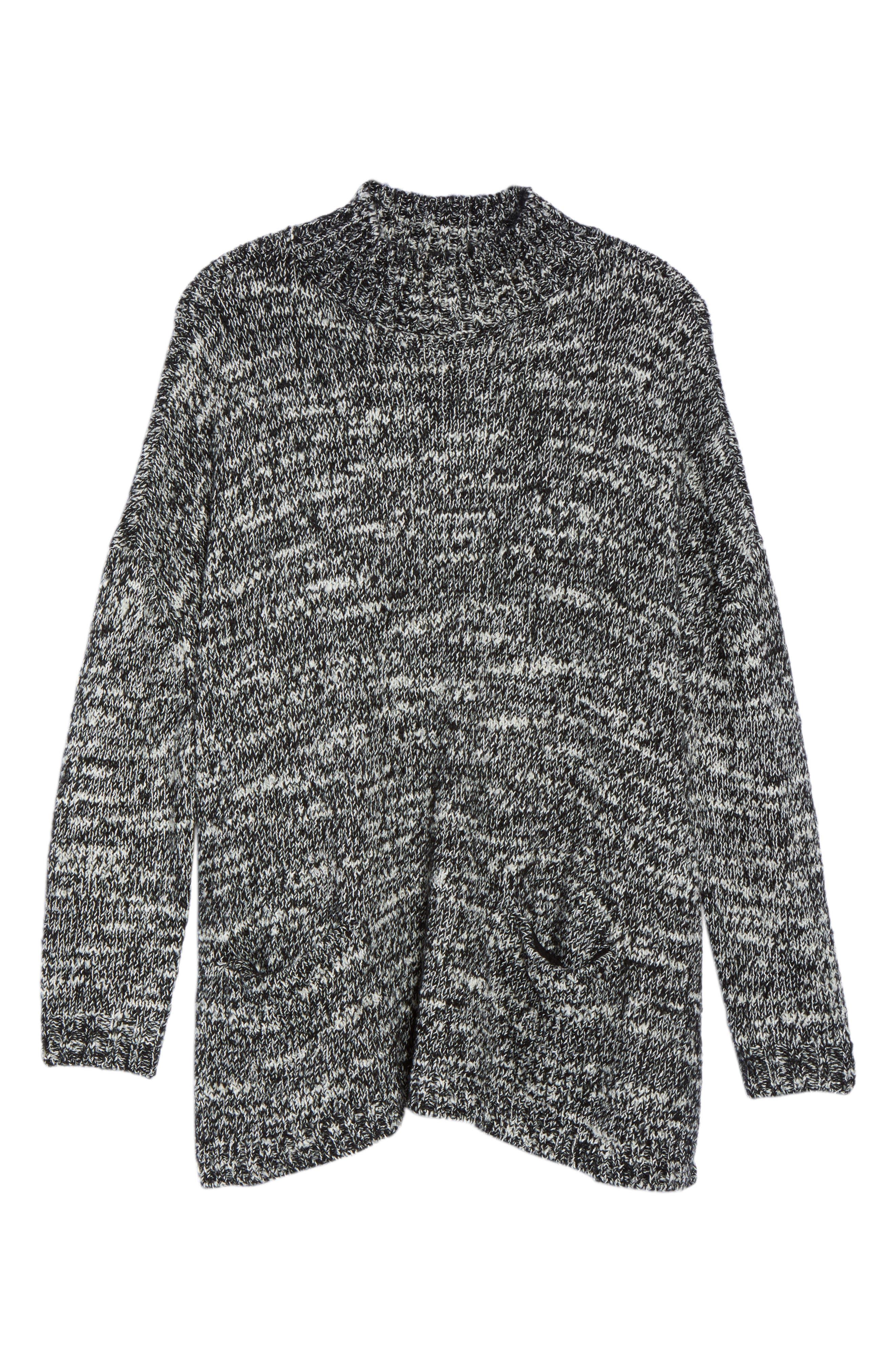 Mock Neck Knit Sweater,                             Alternate thumbnail 6, color,                             001
