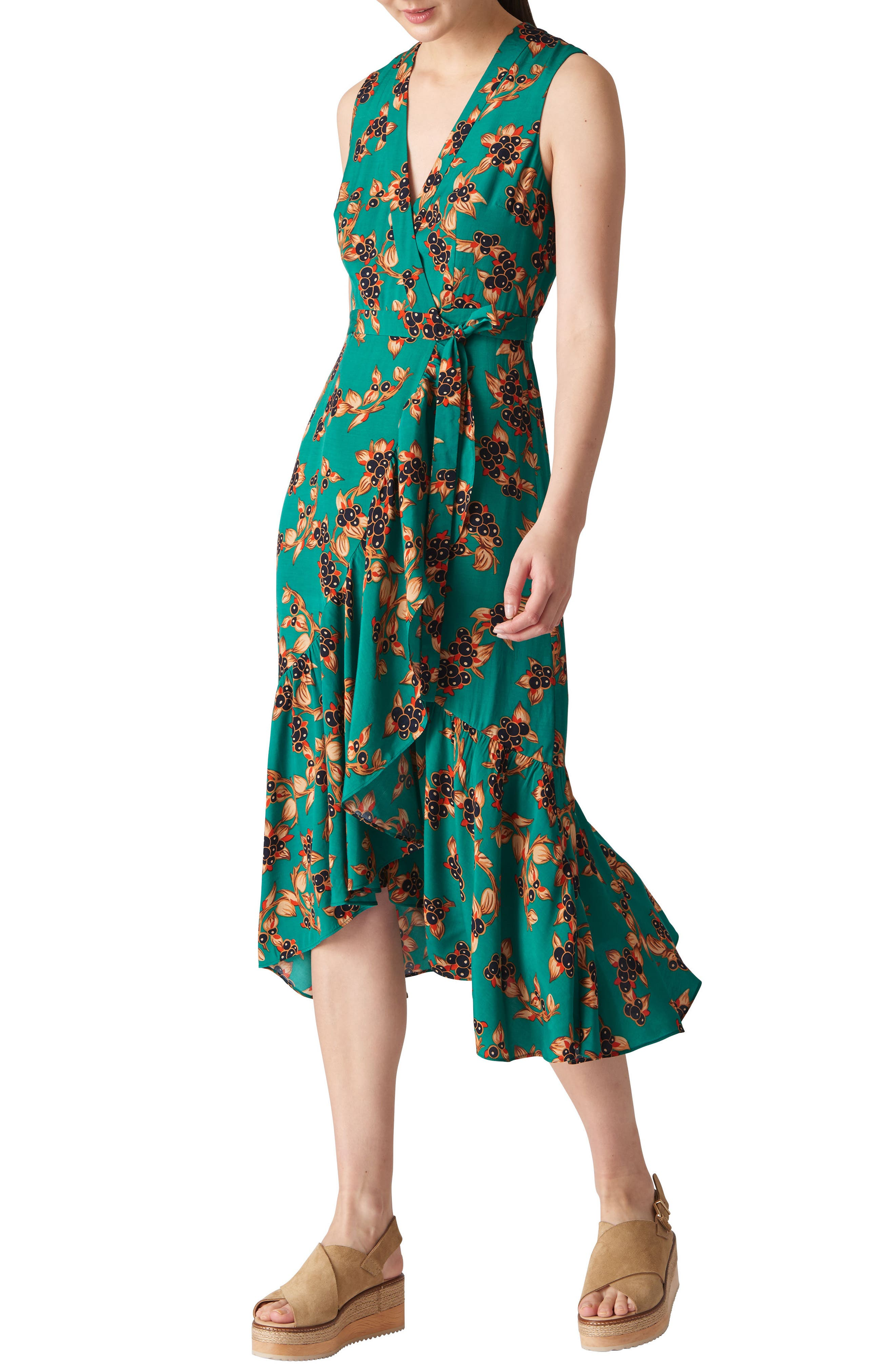 Capri Print Midi Wrap Dress,                         Main,                         color, GREEN/ MULTI