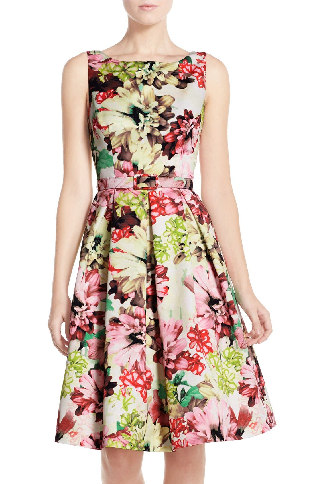 Belted Floral Print Faille Fit & Flare Dress, Main, color, 360