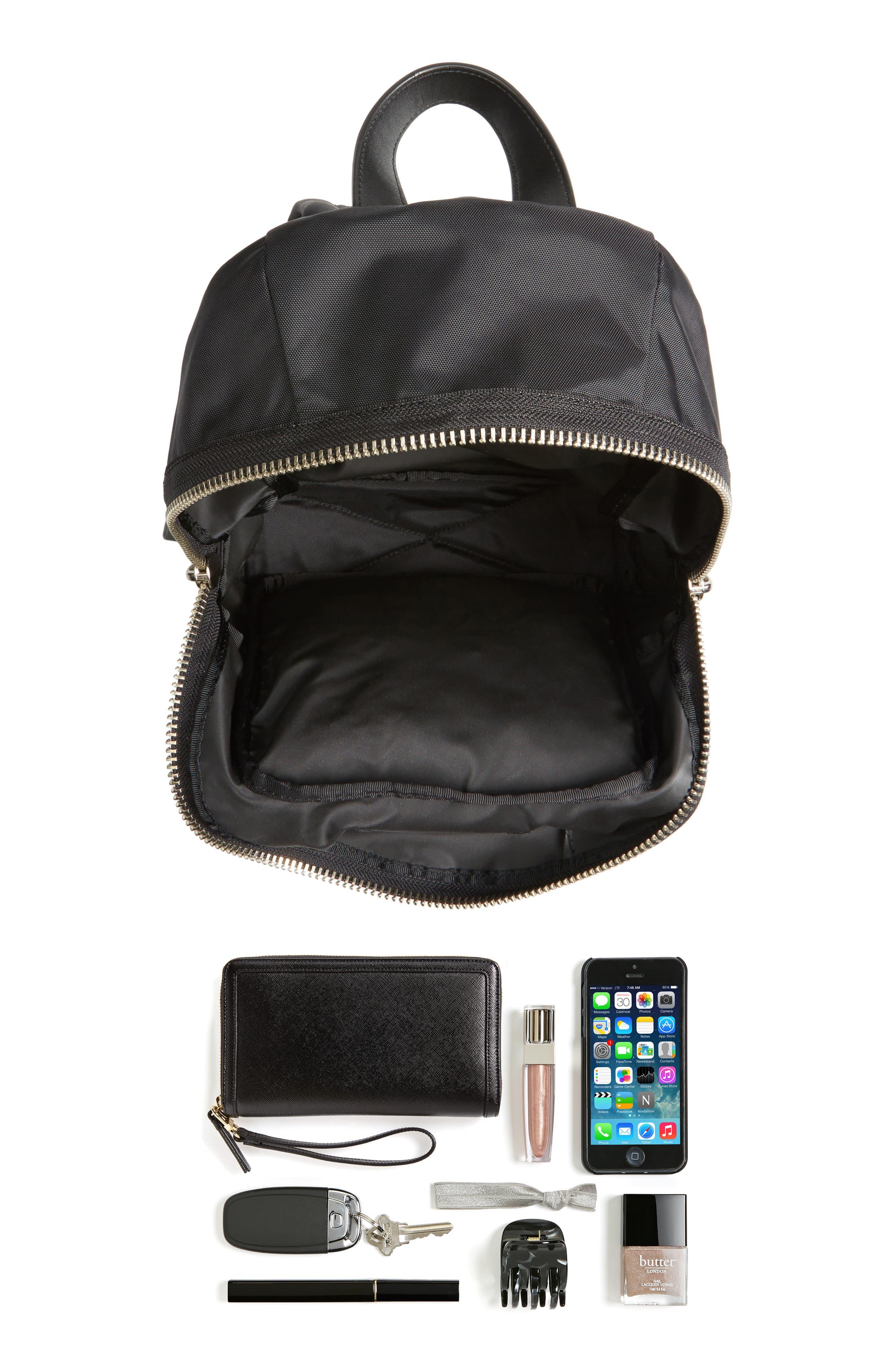 Mini Biker Nylon Backpack,                             Alternate thumbnail 7, color,                             BLACK