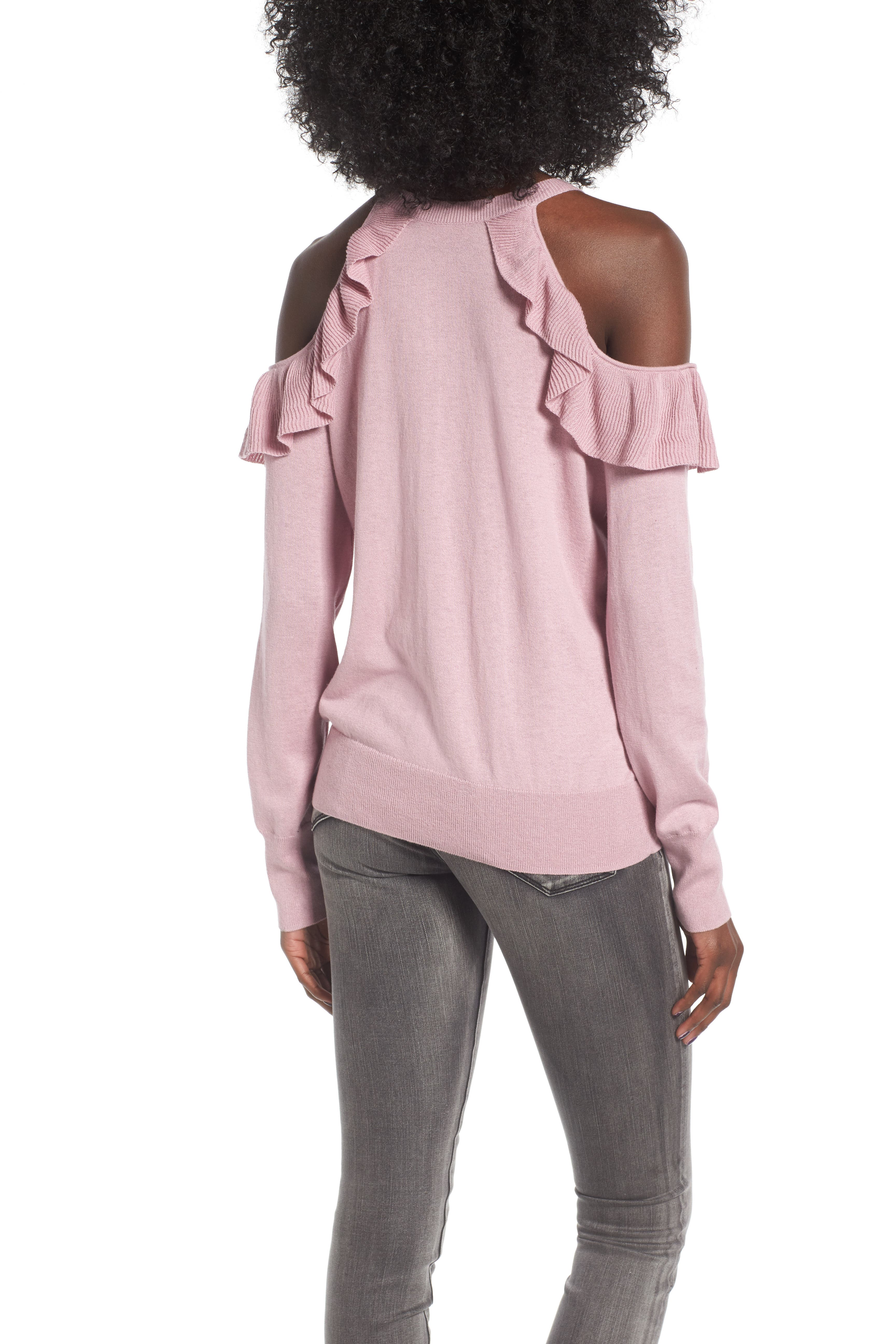 Ruffle Cold Shoulder Pullover,                             Alternate thumbnail 2, color,                             680