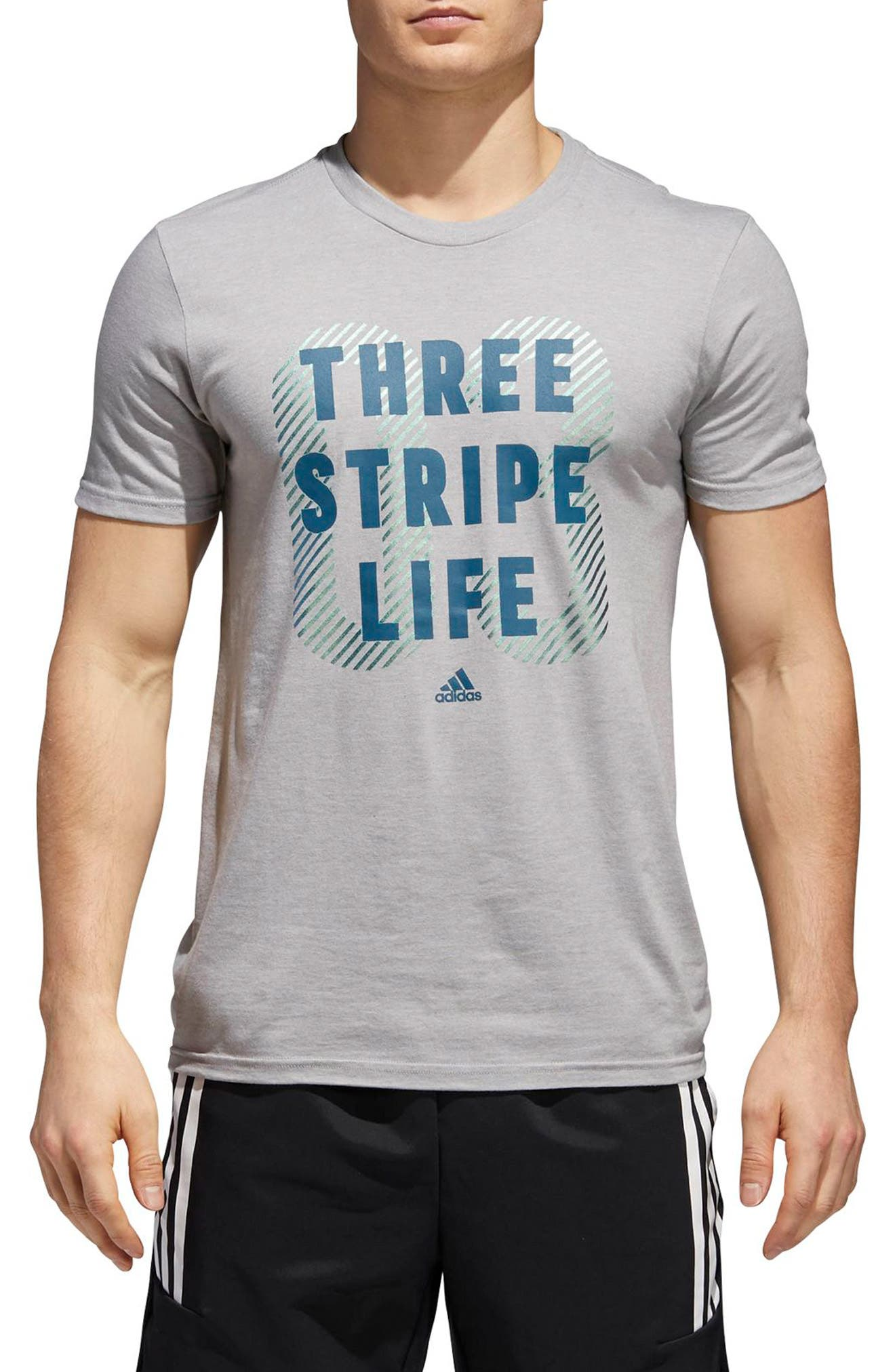 Three Stripe Life Metallic T-Shirt,                             Main thumbnail 2, color,