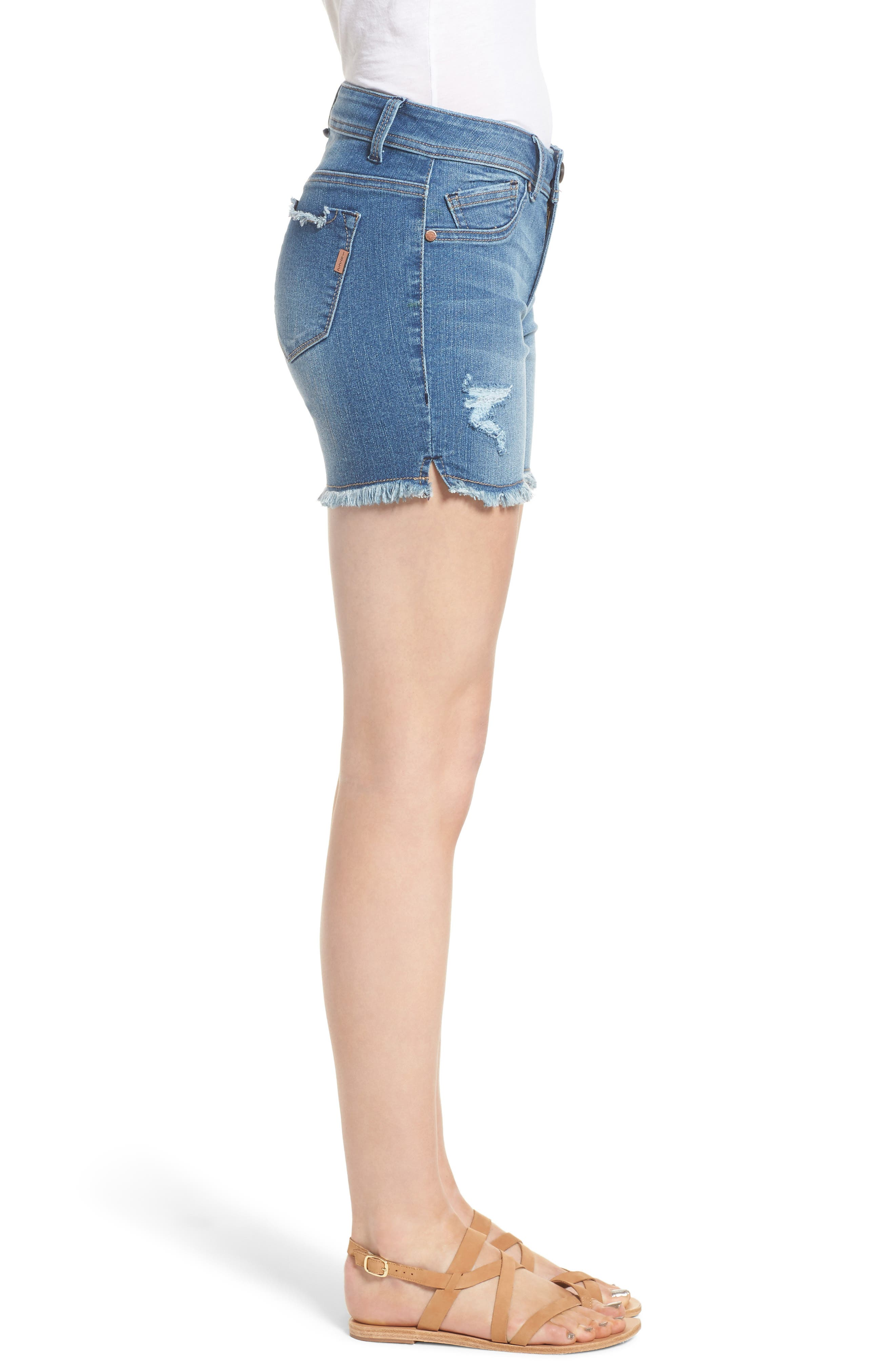 Raw Hem Denim Shorts,                             Alternate thumbnail 3, color,                             400