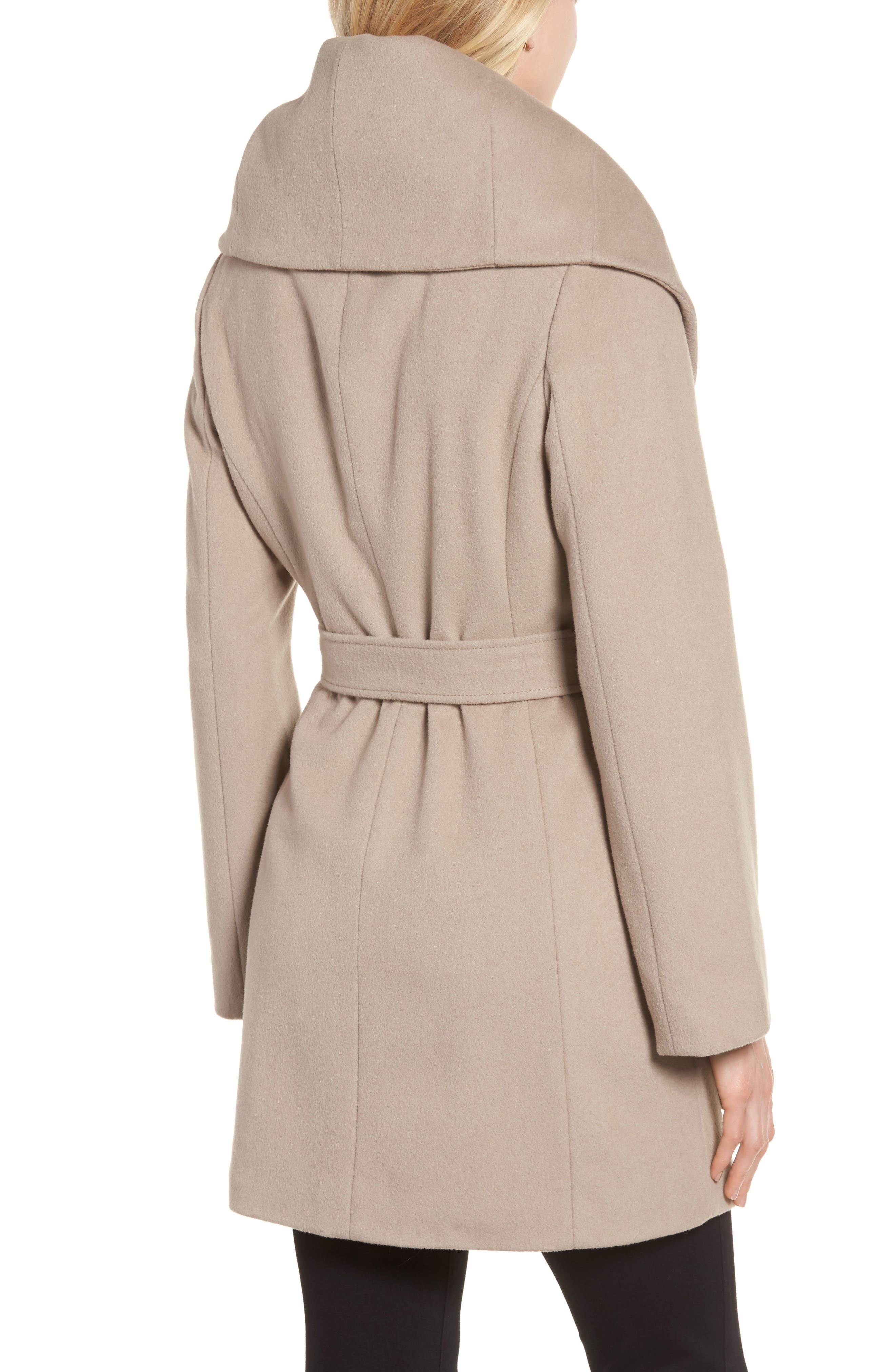 T Tahari Wool Blend Belted Wrap Coat,                             Alternate thumbnail 13, color,