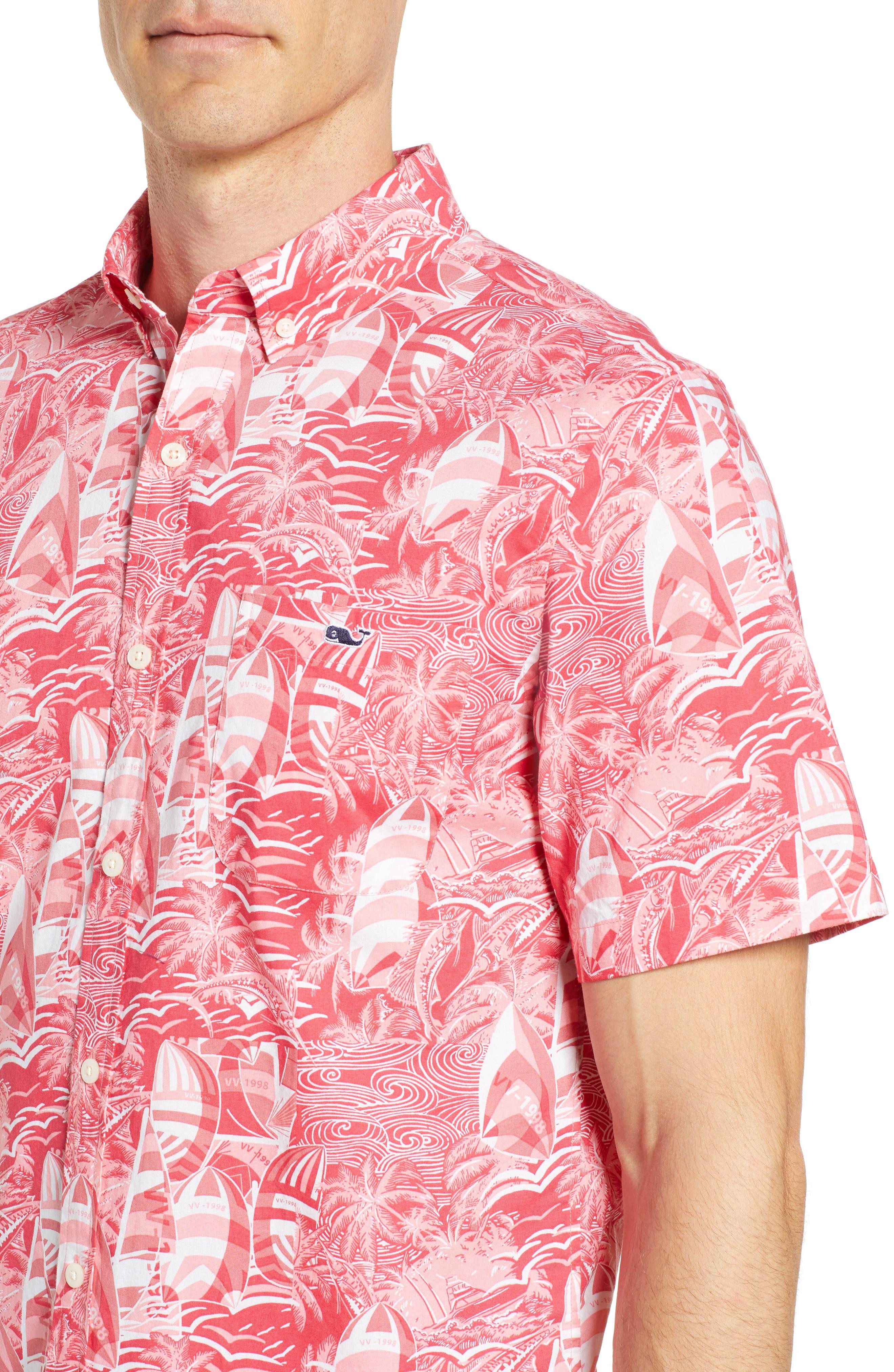 At Sea Tucker Slim Fit Sport Shirt,                             Alternate thumbnail 4, color,                             SAILORS RED