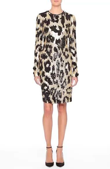 Cheetah Print Sequin Sheath Dress, video thumbnail