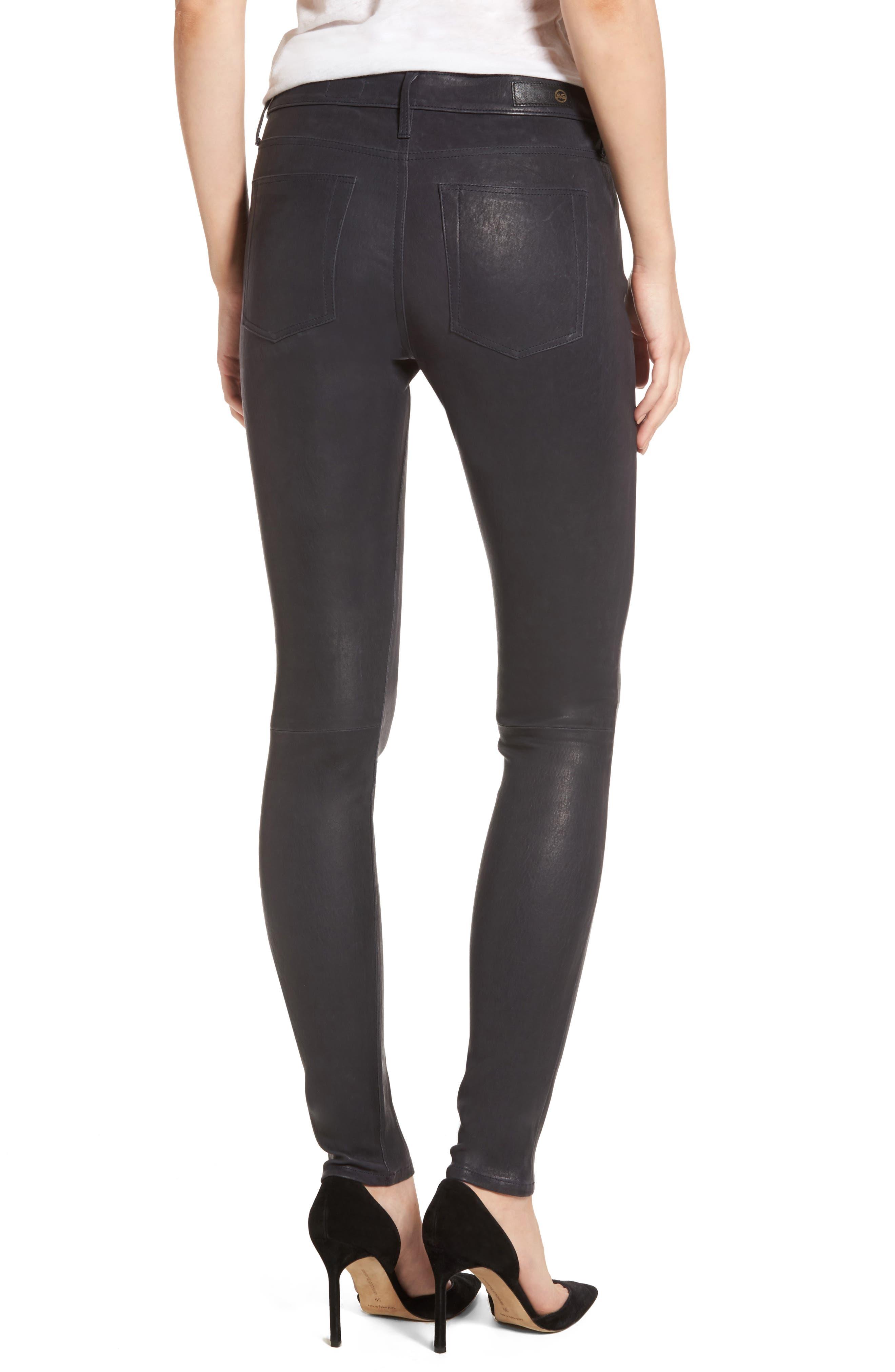 Farrah Leather Skinny Jeans,                             Alternate thumbnail 5, color,