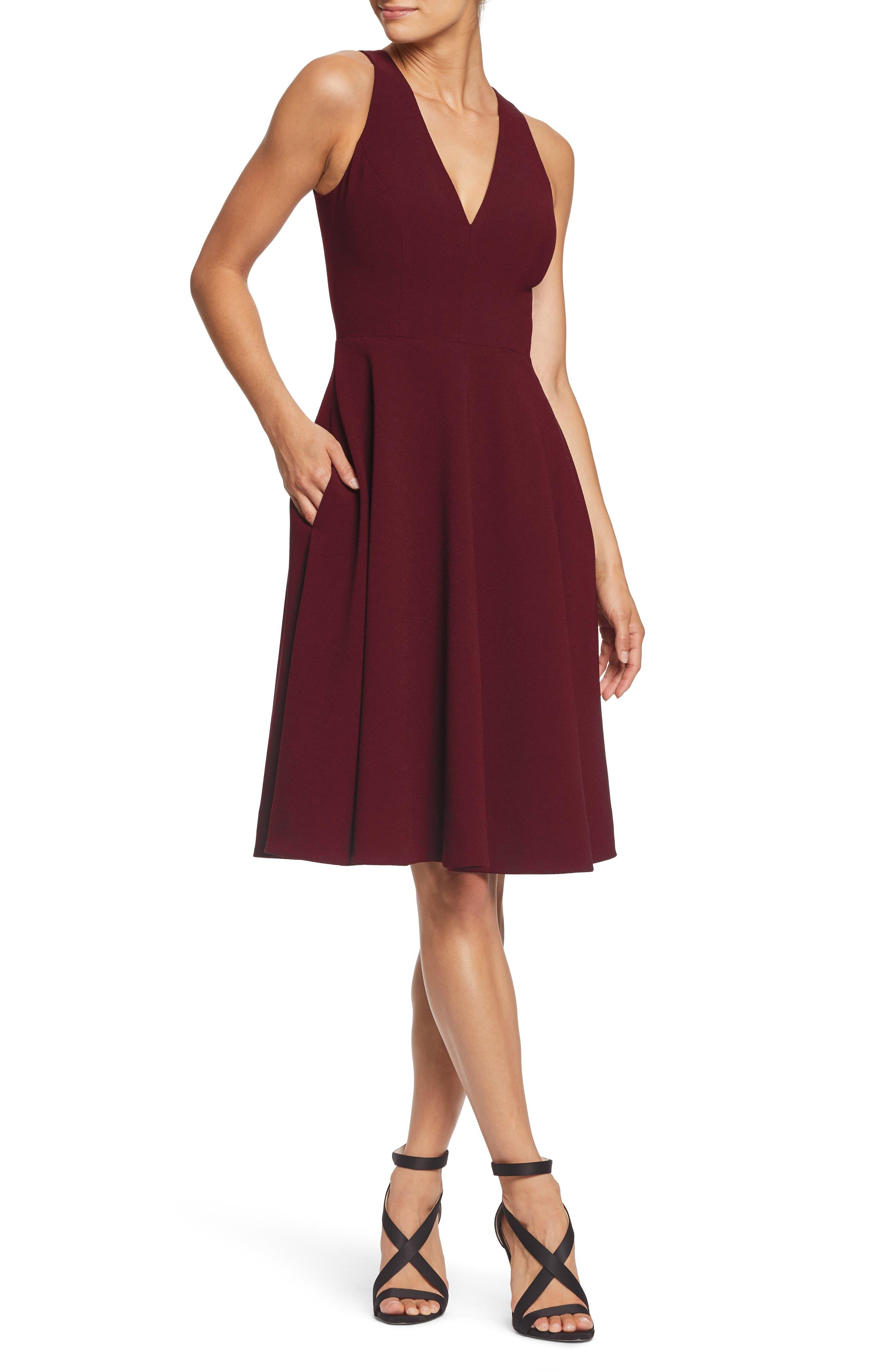 Dress The Population Catalina Tea Length Fit & Flare Dress, Burgundy