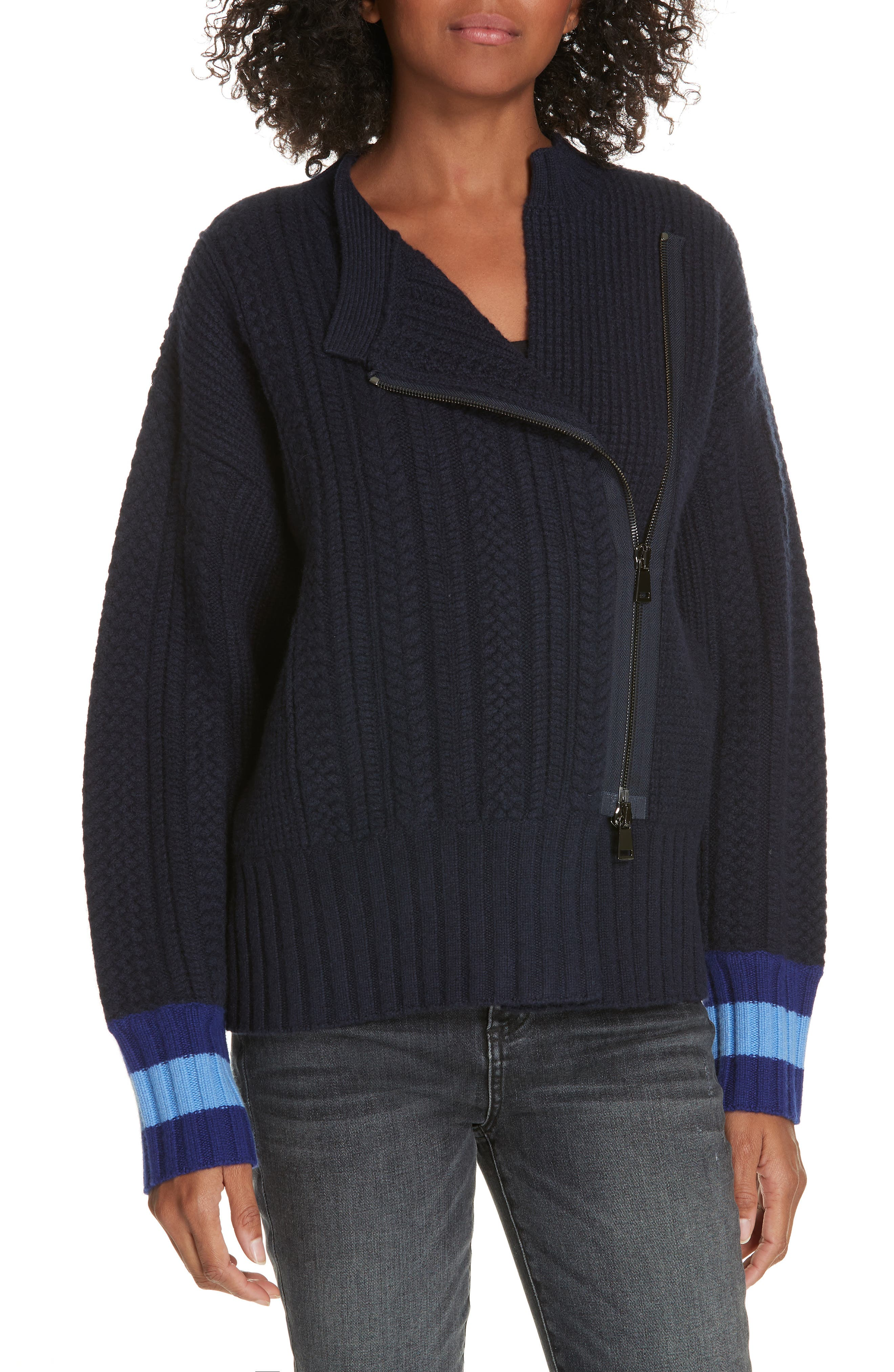 Lewit Asymmetrical Zip Front Wool & Cashmere Sweater, Blue