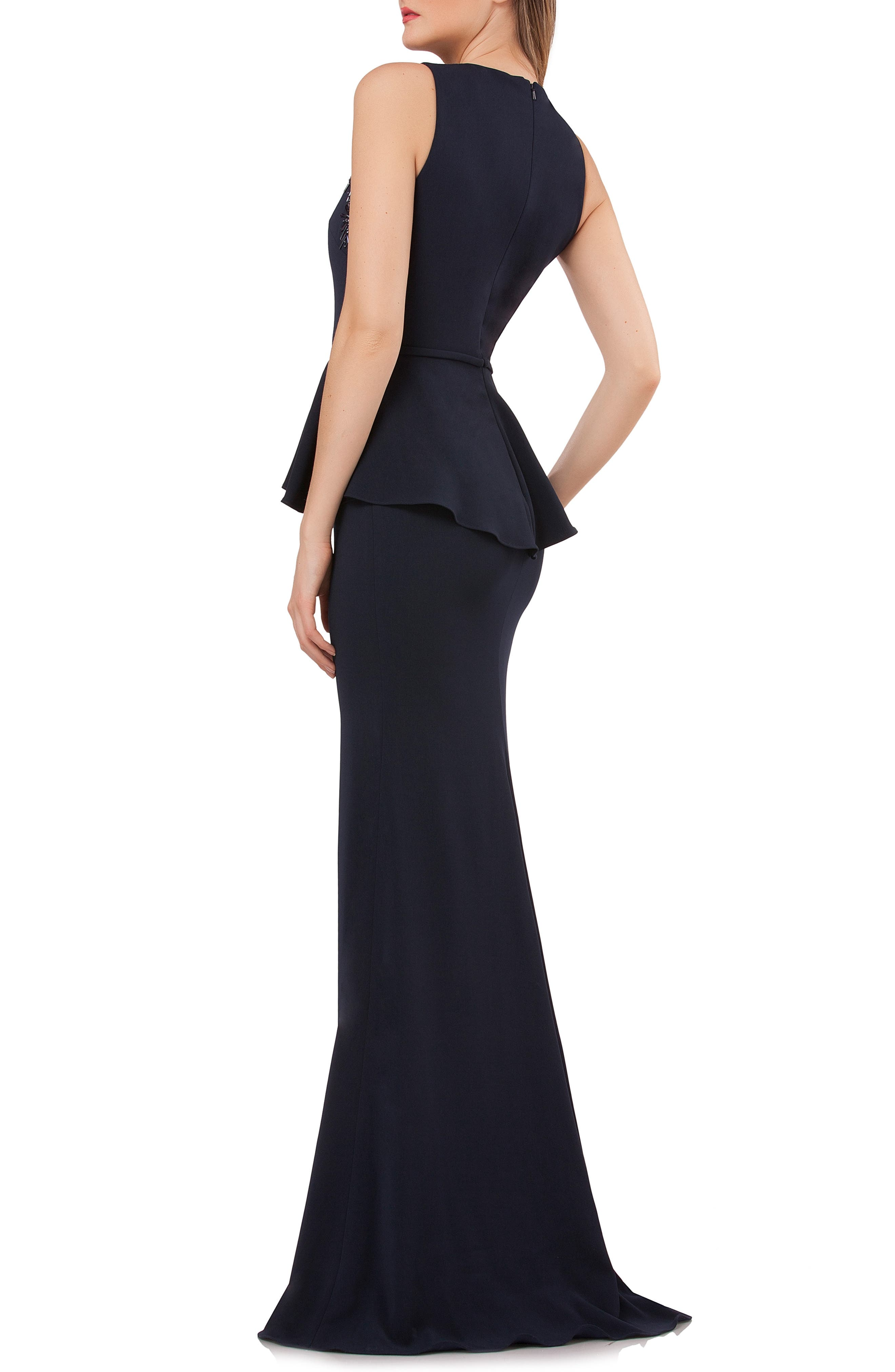 Embellished Peplum Waist Crepe Gown,                             Alternate thumbnail 2, color,                             MIDNIGHT