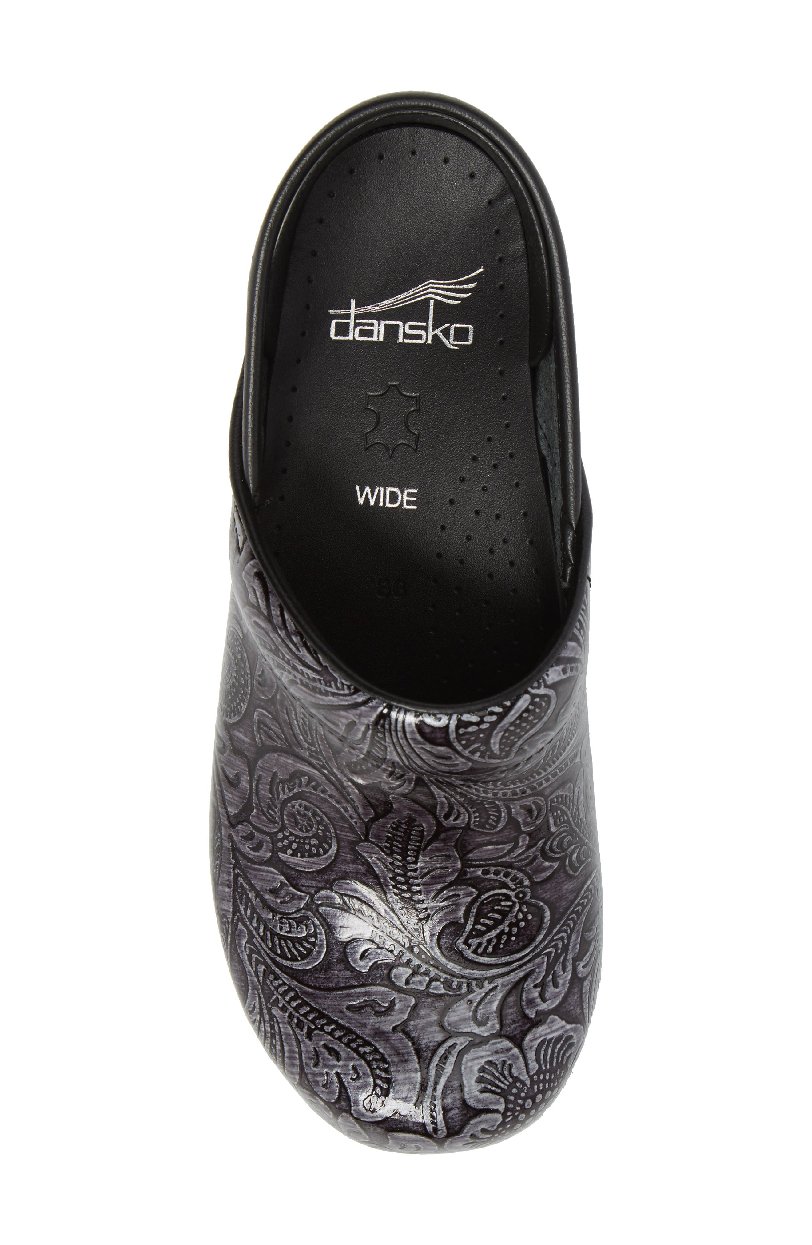 'Wide Pro' Clog,                             Alternate thumbnail 5, color,                             GREY TOOLED PATENT LEATHER