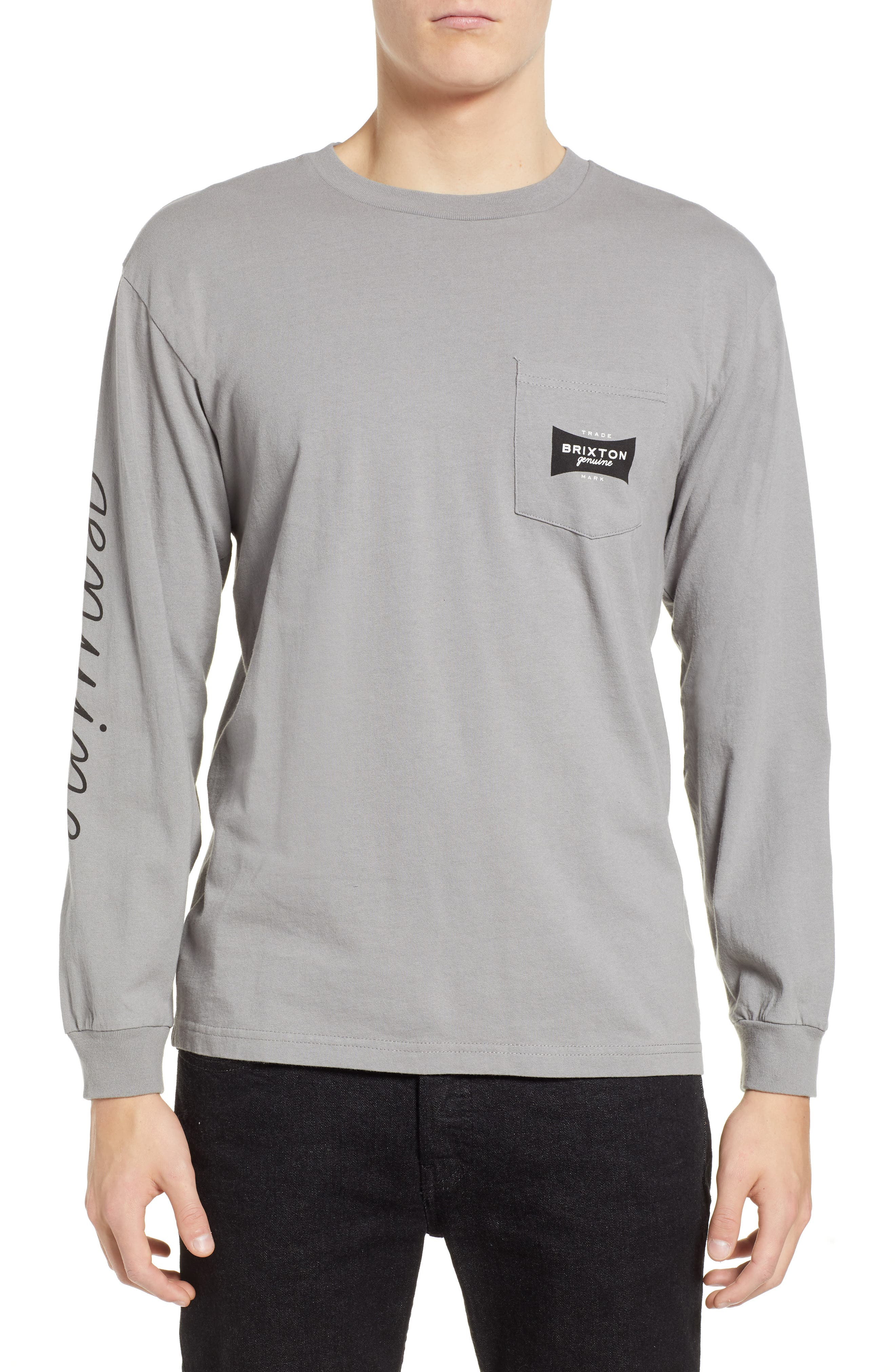 Ramsey Long Sleeve Pocket T-Shirt,                         Main,                         color, CEMENT