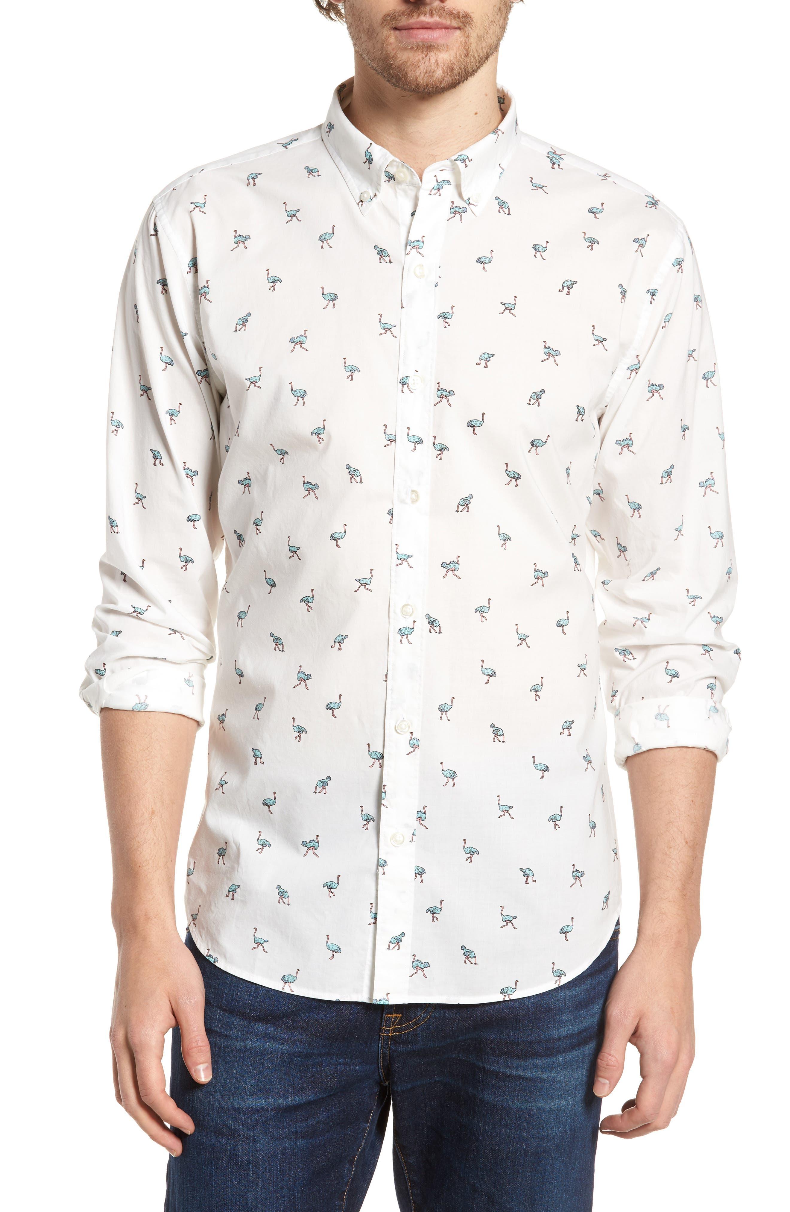 Slim Fit Summerweight Print Sport Shirt,                         Main,                         color, 100
