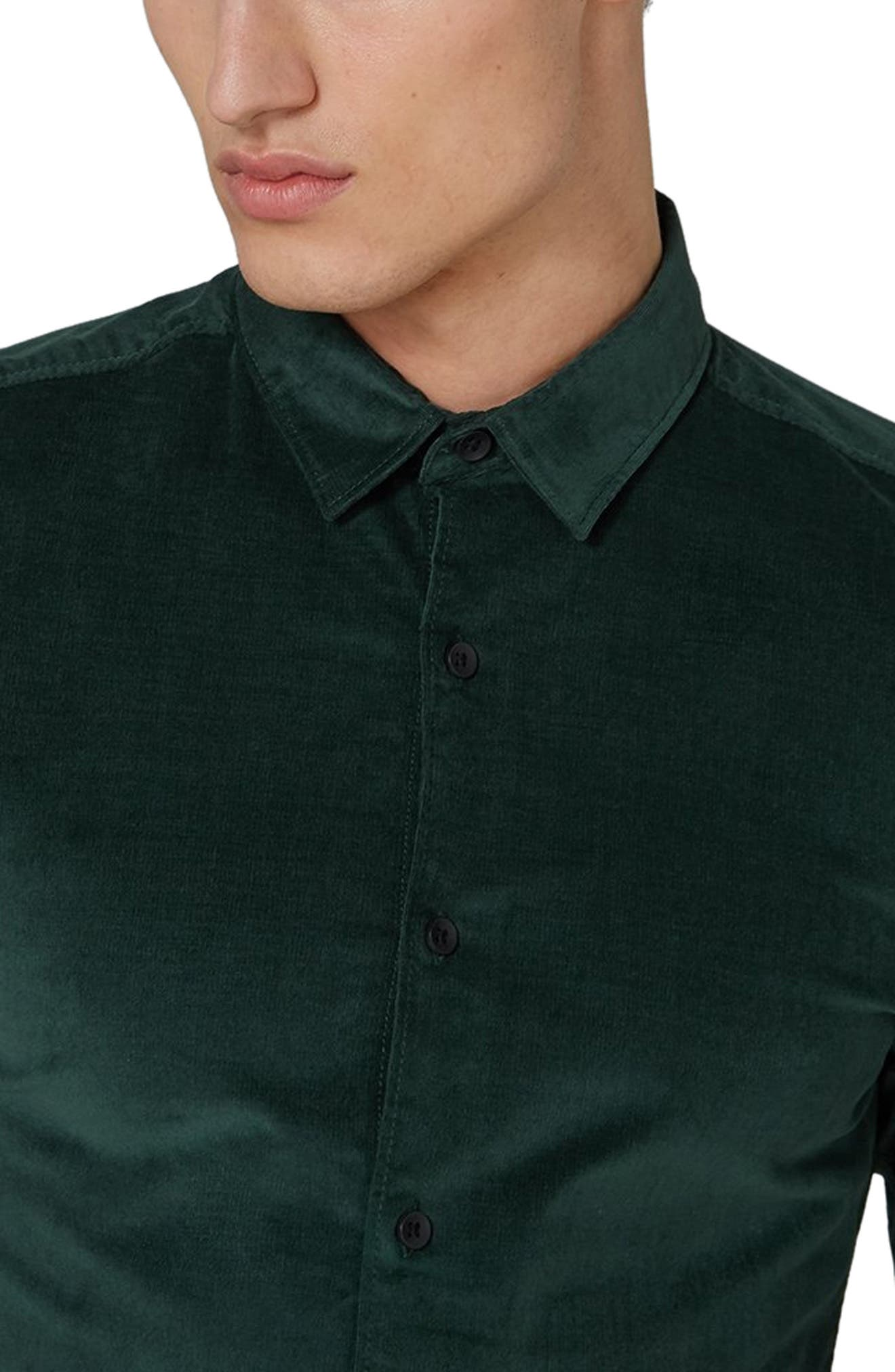 Muscle Fit Corduroy Shirt,                             Alternate thumbnail 2, color,                             GREEN