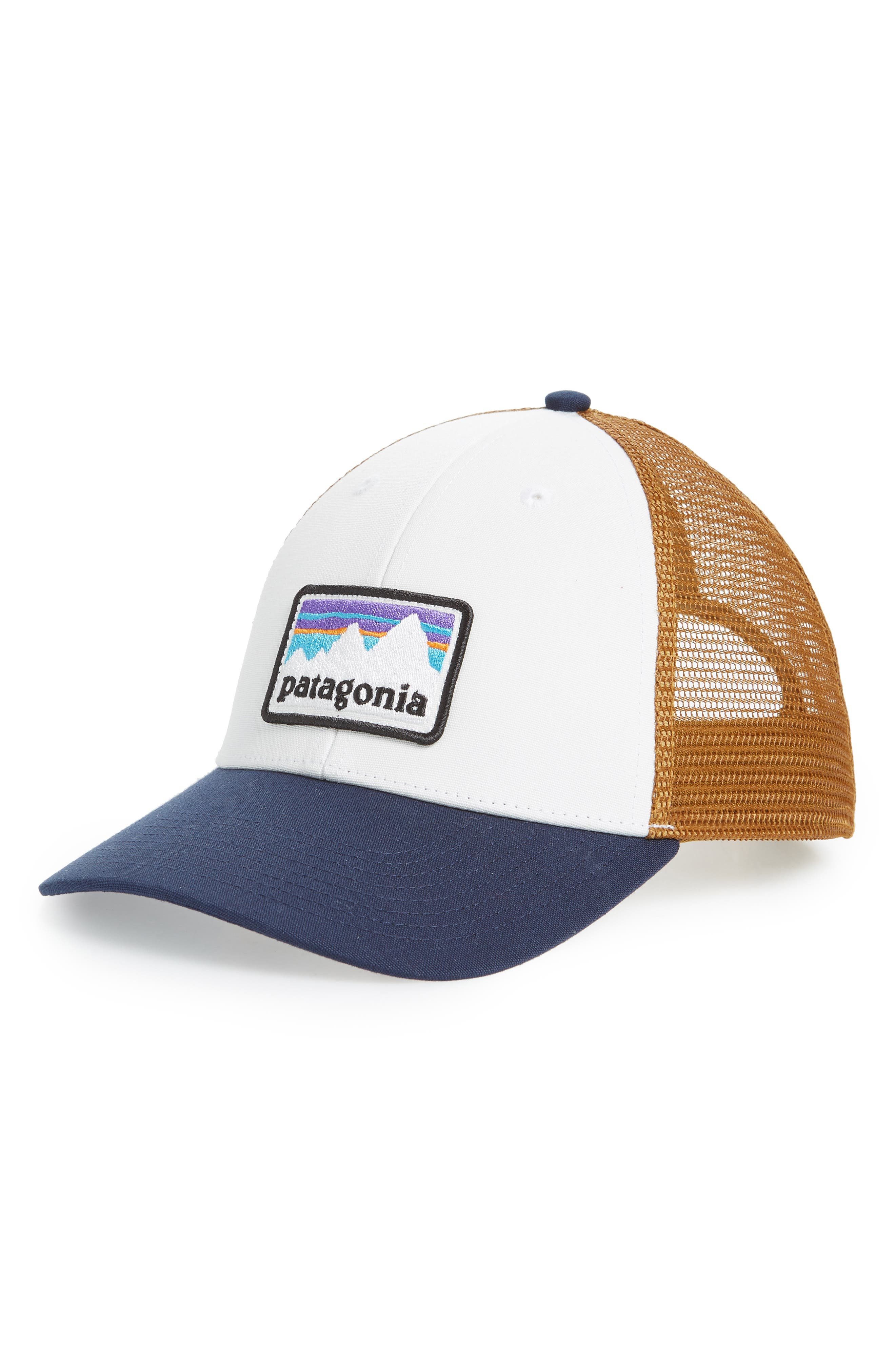 Shop Sticker Trucker Hat,                         Main,                         color, WHITE WITH CLASSIC NAVY