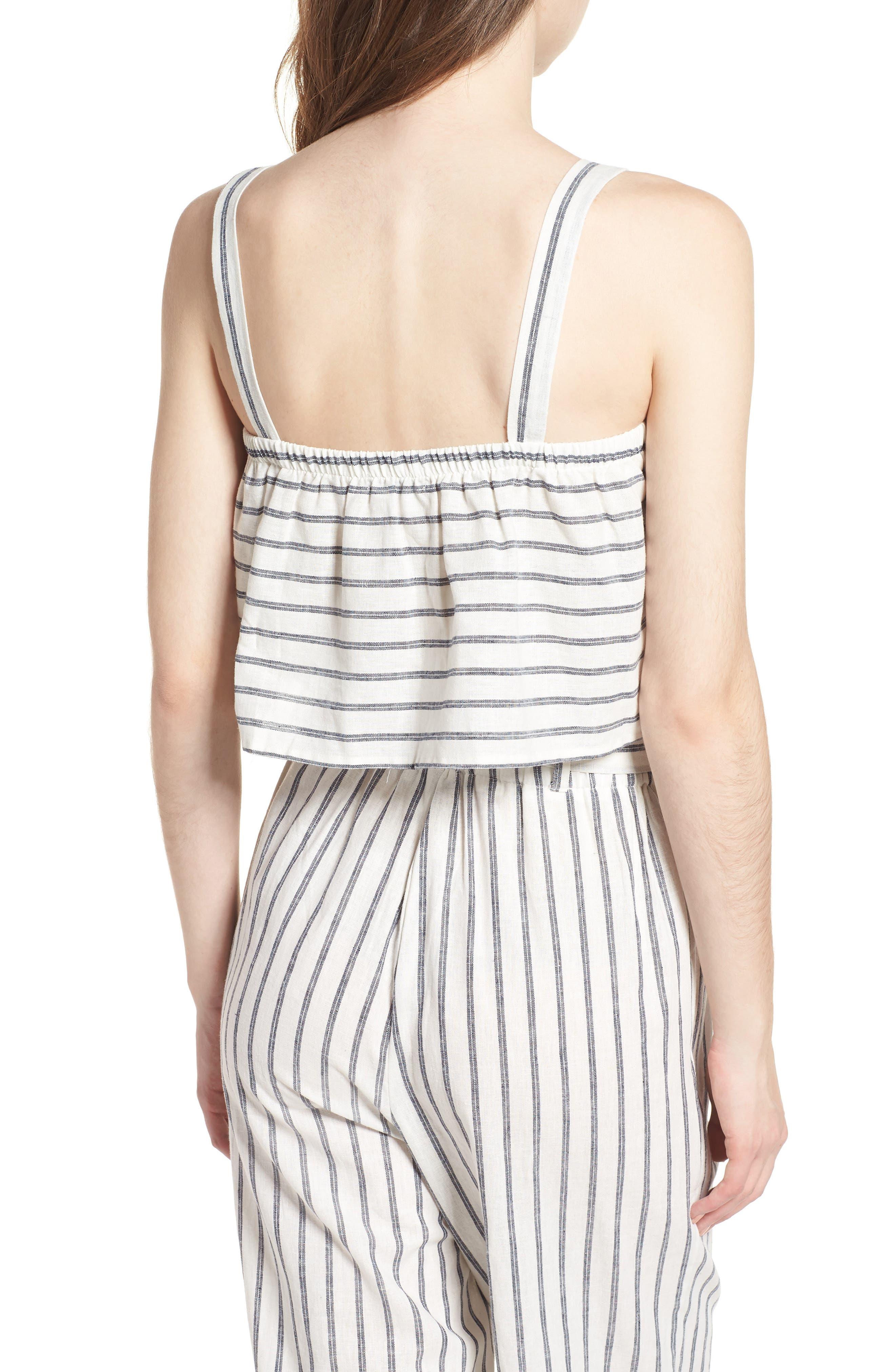 Stripe Linen & Cotton Crop Tank,                             Alternate thumbnail 2, color,                             904
