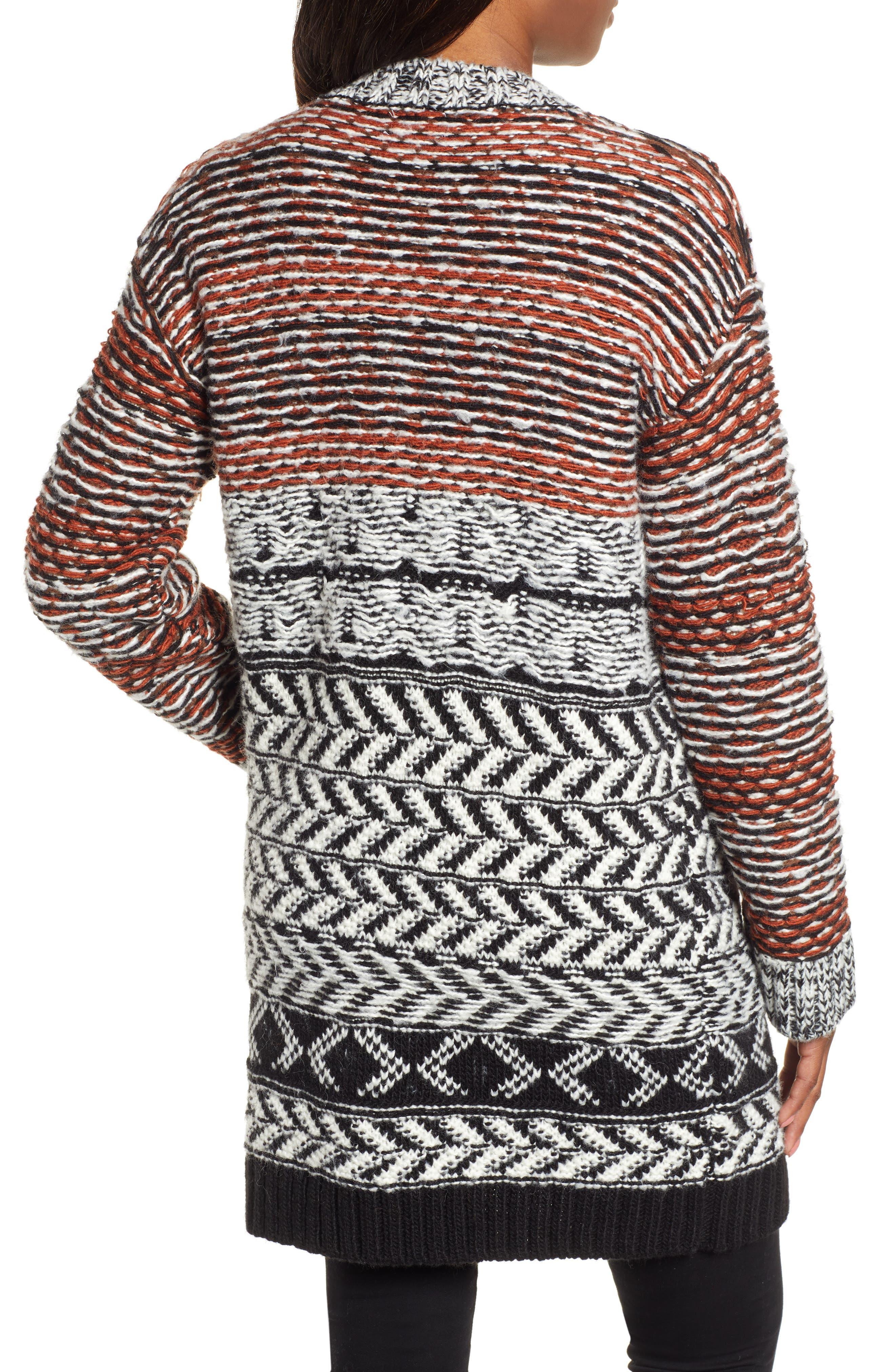 Multi Jacquard Sweater Coat,                             Alternate thumbnail 2, color,                             001