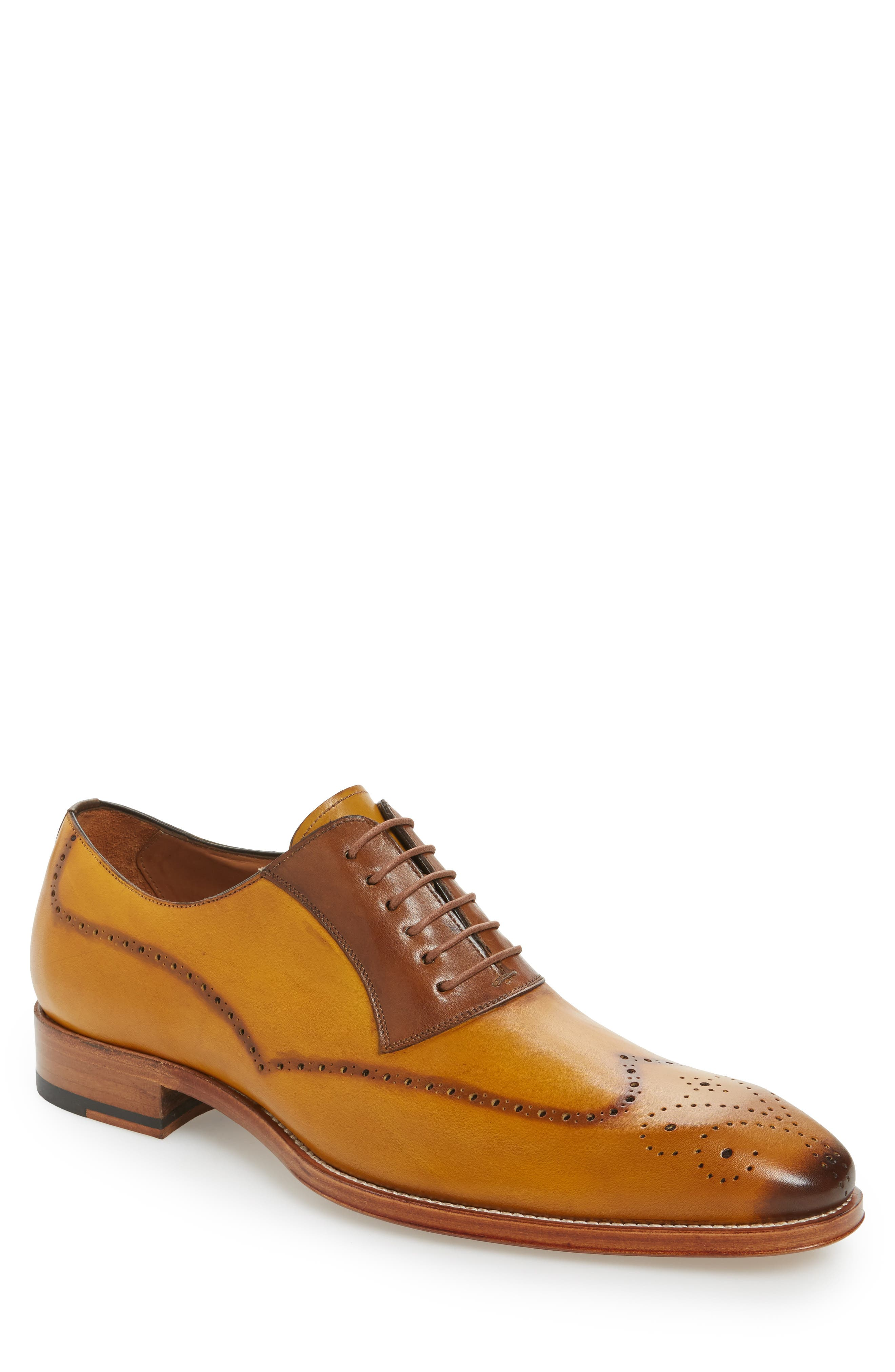 Kelvin Faux Wingtip,                             Main thumbnail 1, color,                             MUSTARD/ TAN LEATHER