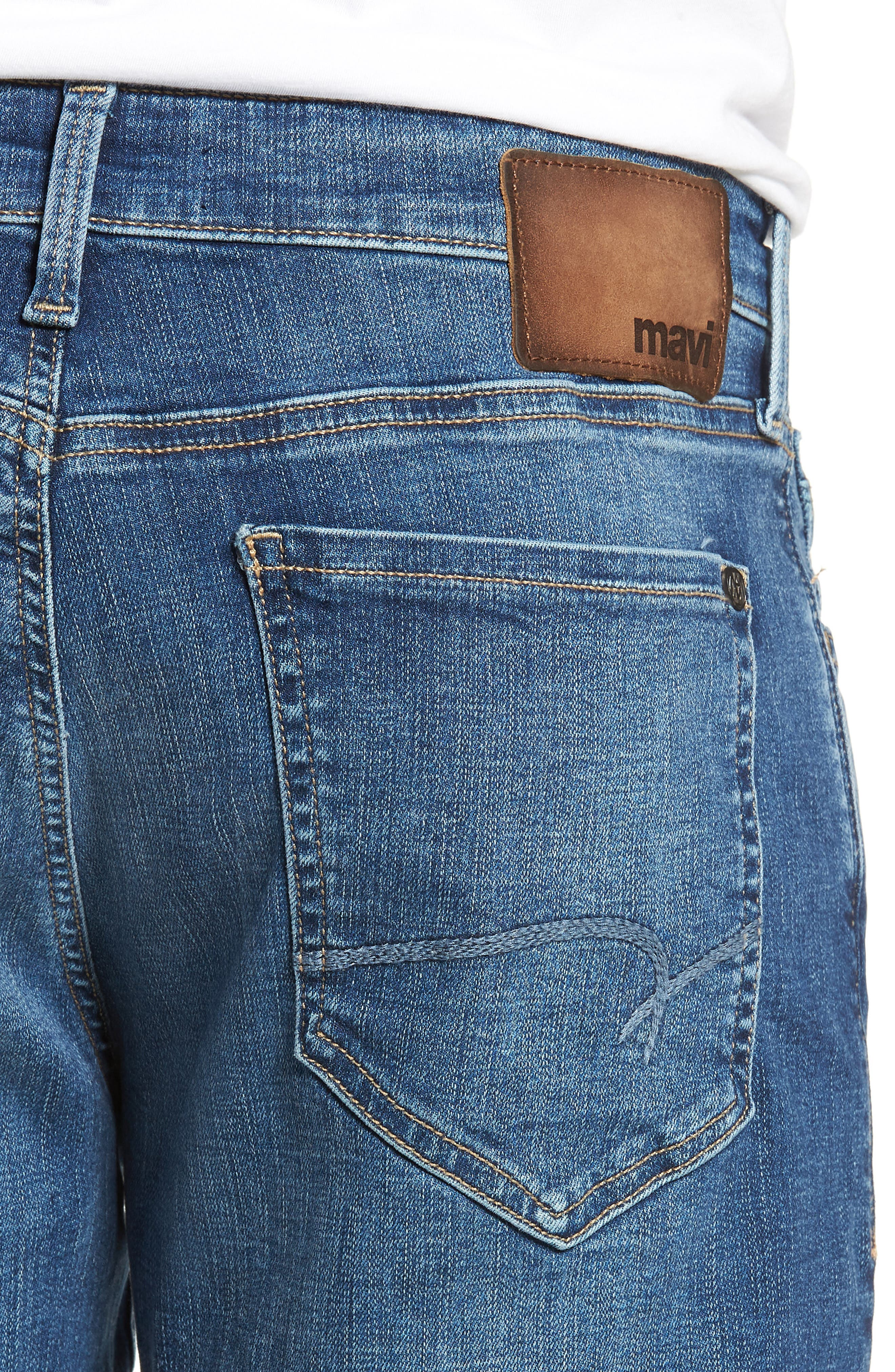 Matt Relaxed Straight Leg Jeans,                             Alternate thumbnail 4, color,                             MID BRUSHED CASHMERE