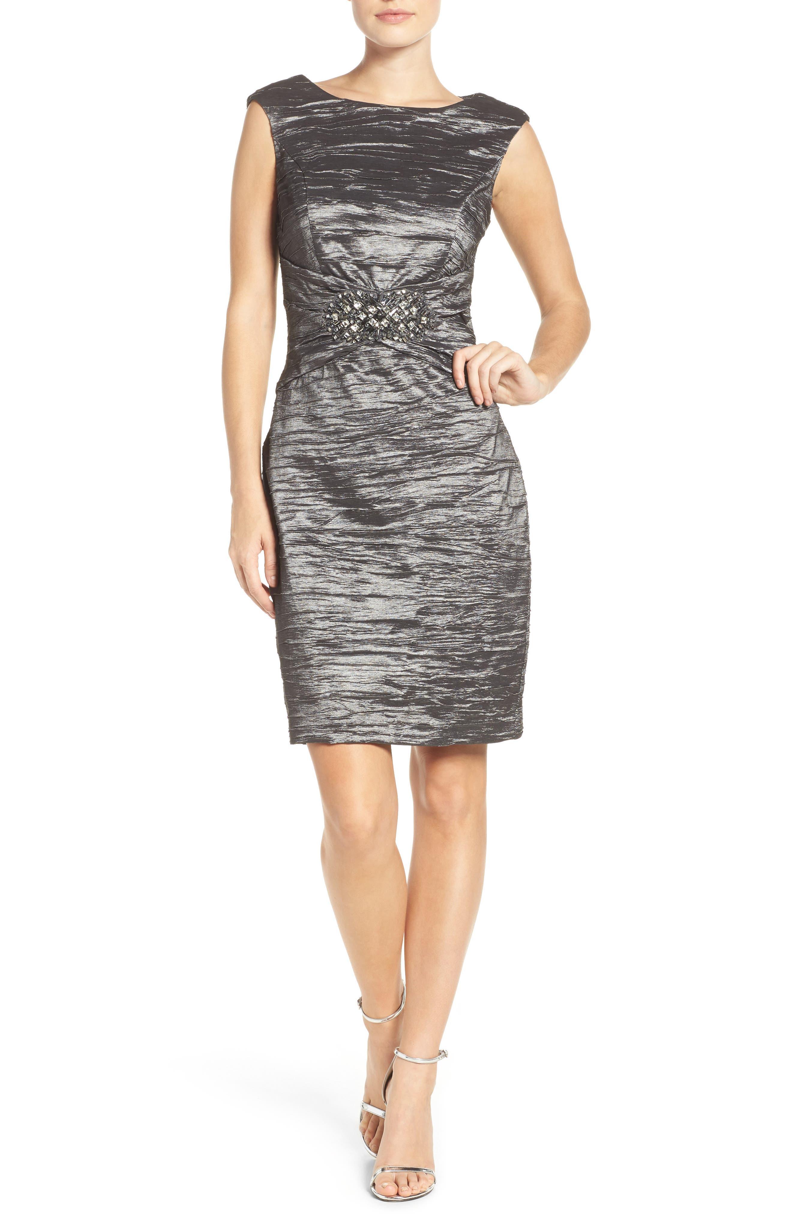 Embellished Taffeta Sheath Dress,                             Alternate thumbnail 5, color,                             043