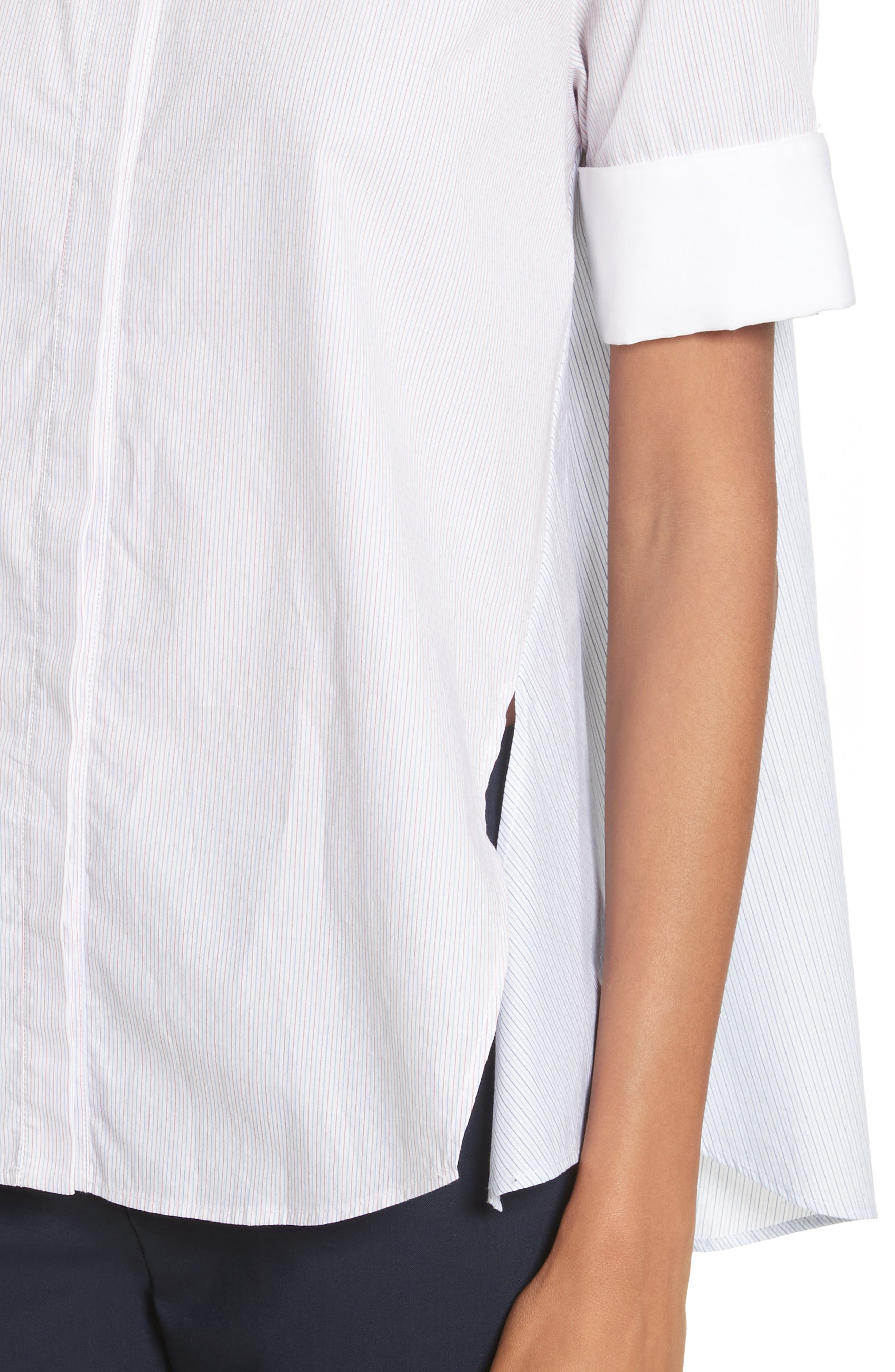 Stripe Cotton Trapeze Shirt,                             Alternate thumbnail 4, color,