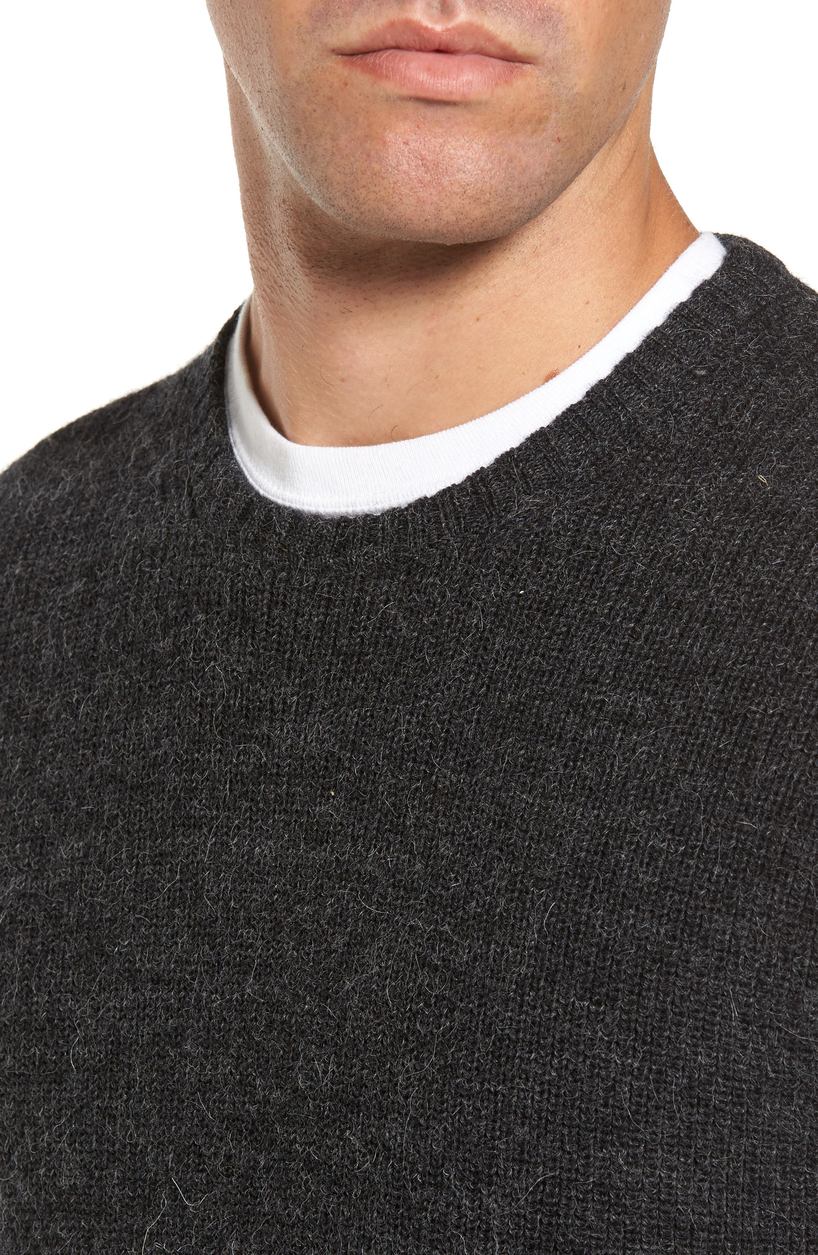 Whalers Bay Merino Wool Blend Sweater,                             Alternate thumbnail 4, color,                             001