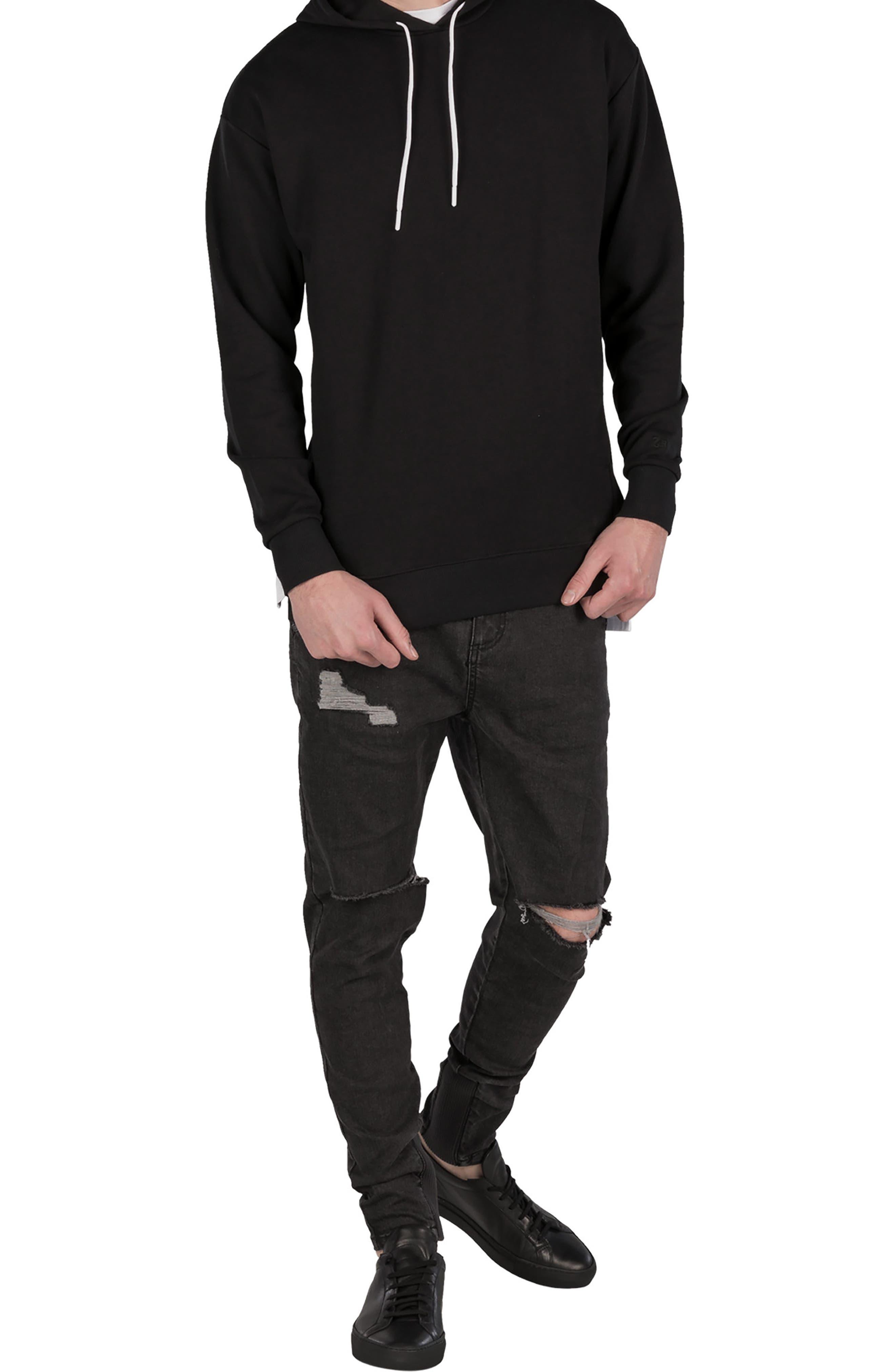 Rugger Hooded Sweatshirt,                             Alternate thumbnail 4, color,                             BLACK