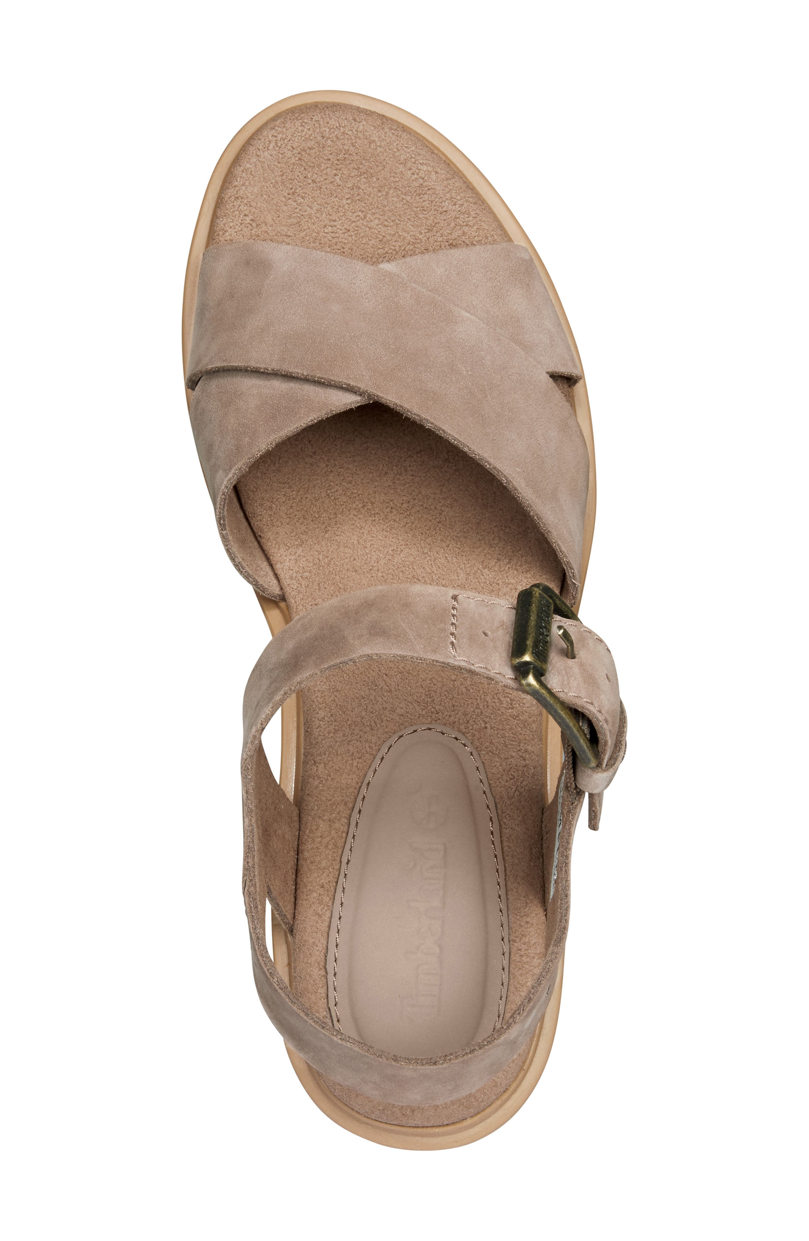 TIMBERLAND,                             Violet March Crisscross Sandal,                             Alternate thumbnail 4, color,                             TAUPE NUBUCK LEATHER