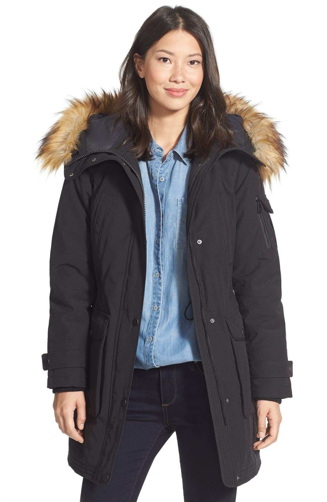 'Expedition' Faux Fur Trim Parka,                             Main thumbnail 1, color,                             001