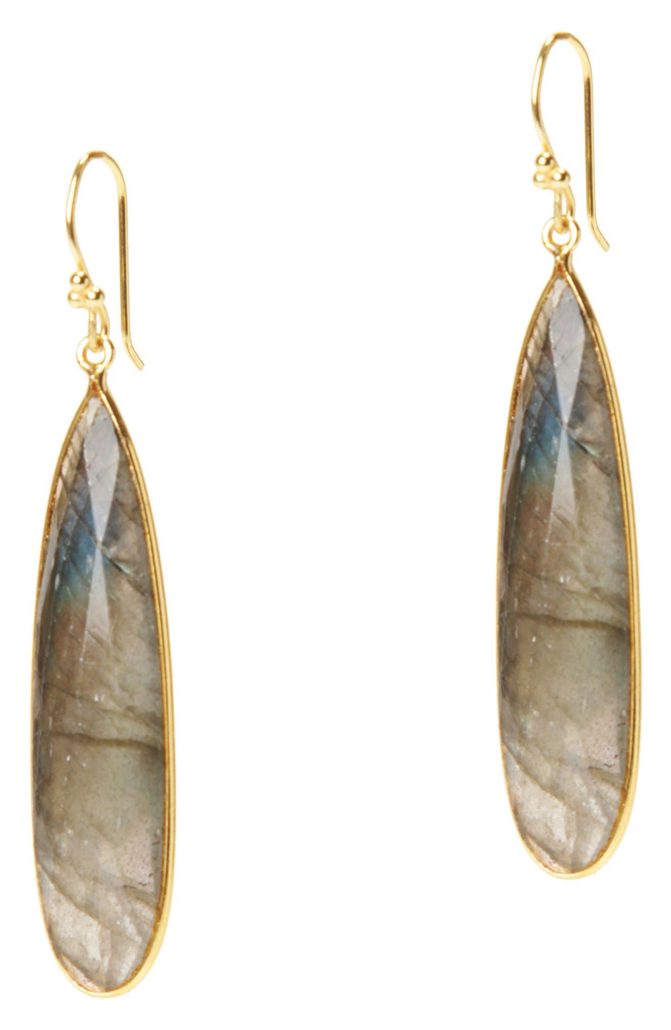 Newport Semiprecious Stone Teardrop Earrings,                             Main thumbnail 1, color,                             LABRADORITE