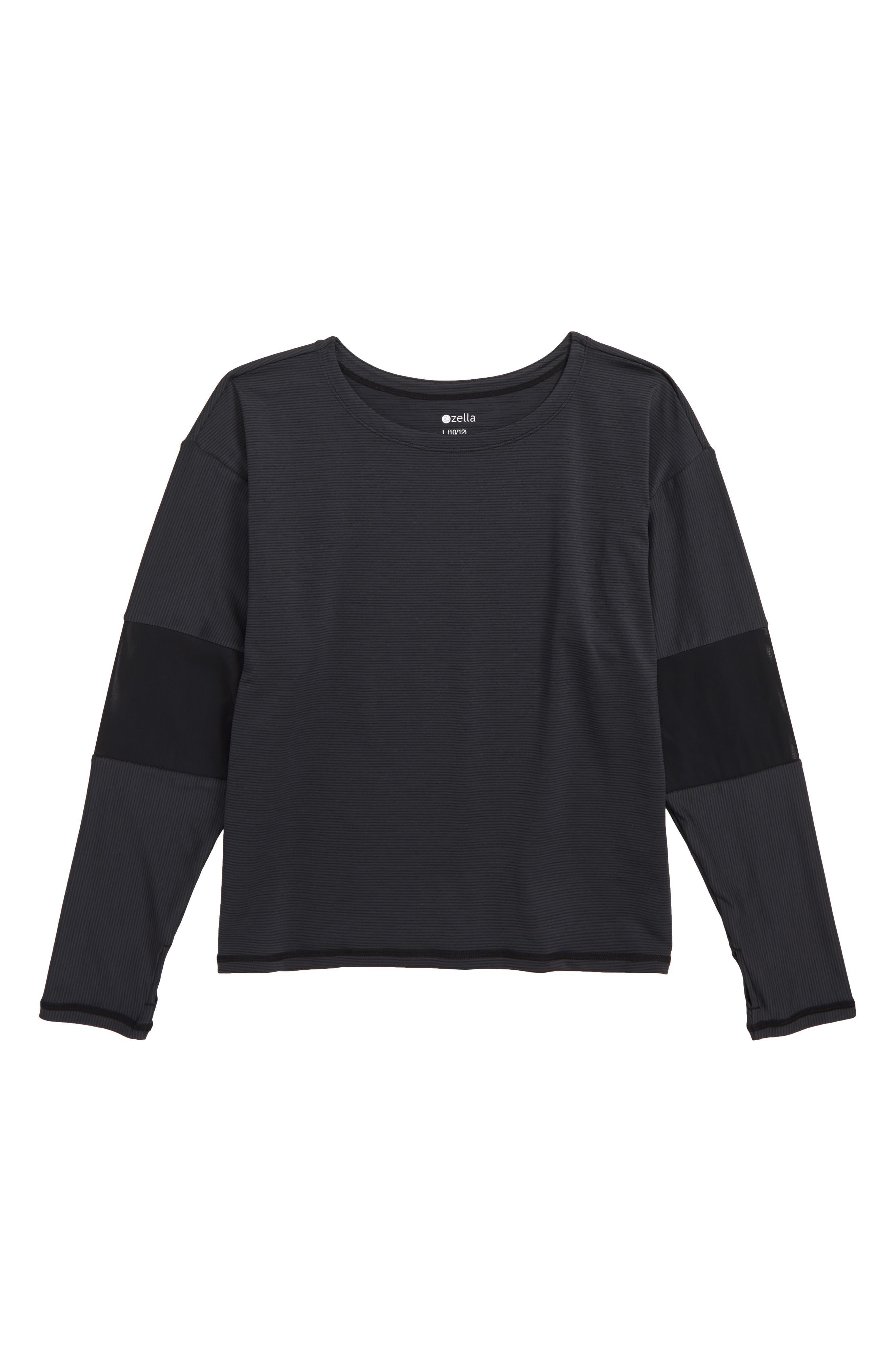 Stripe Knit & Mesh Top,                             Main thumbnail 1, color,                             BLACK- GREY STRIPE