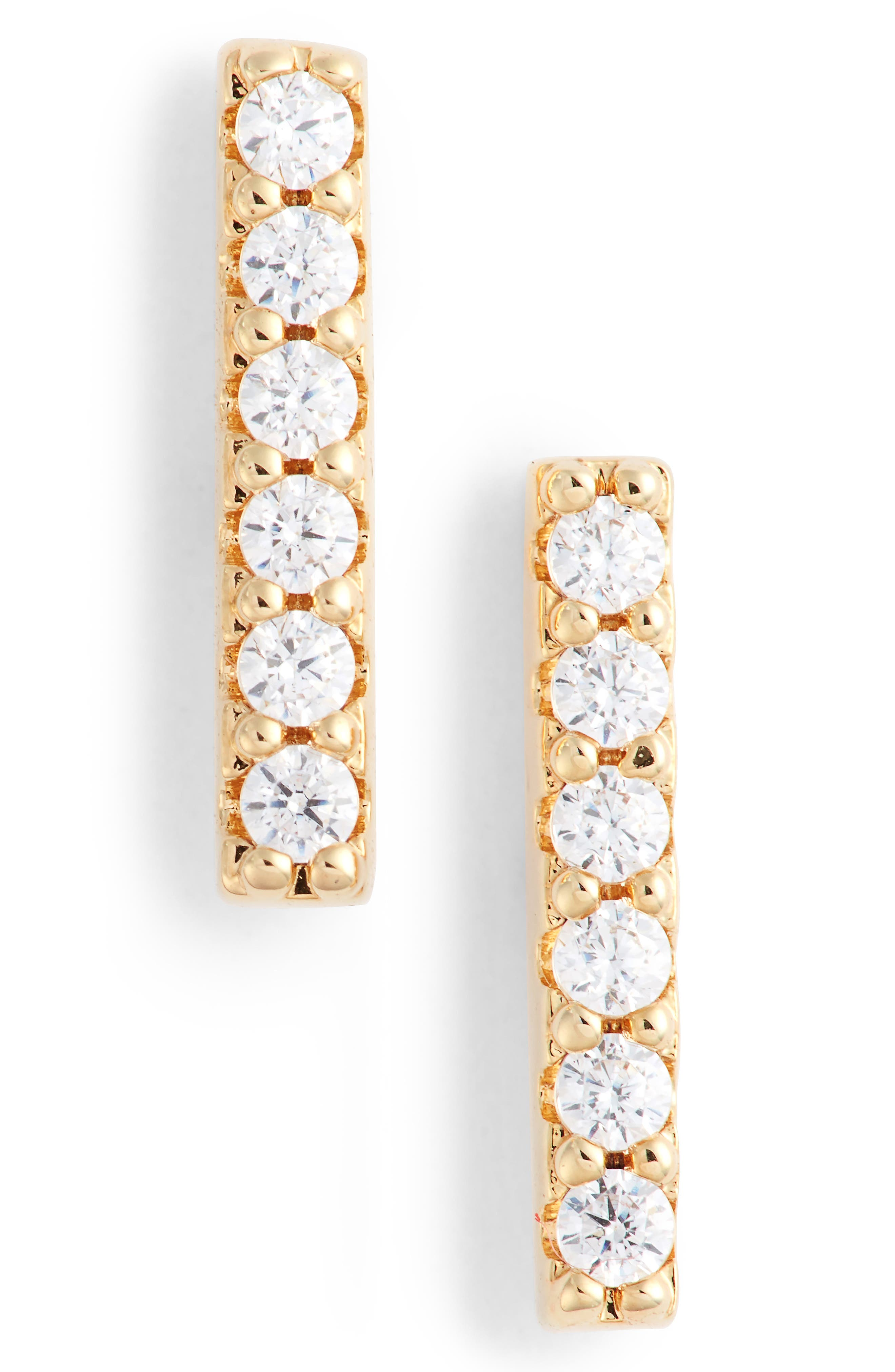 Pavé Bar Stud Earrings, Main, color, CLEAR-GOLD