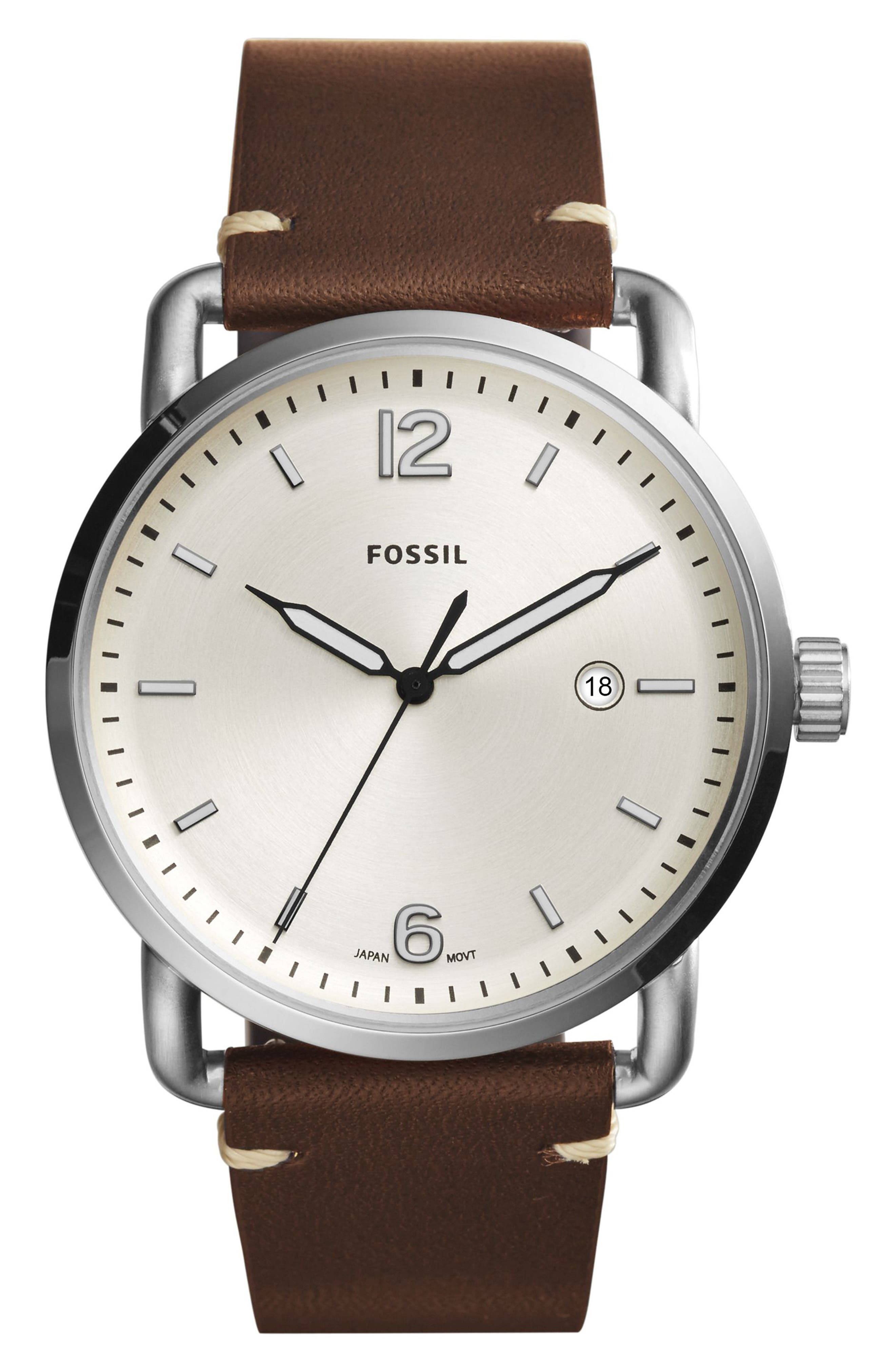 The Commuter Leather Strap Watch, 42mm,                             Main thumbnail 4, color,