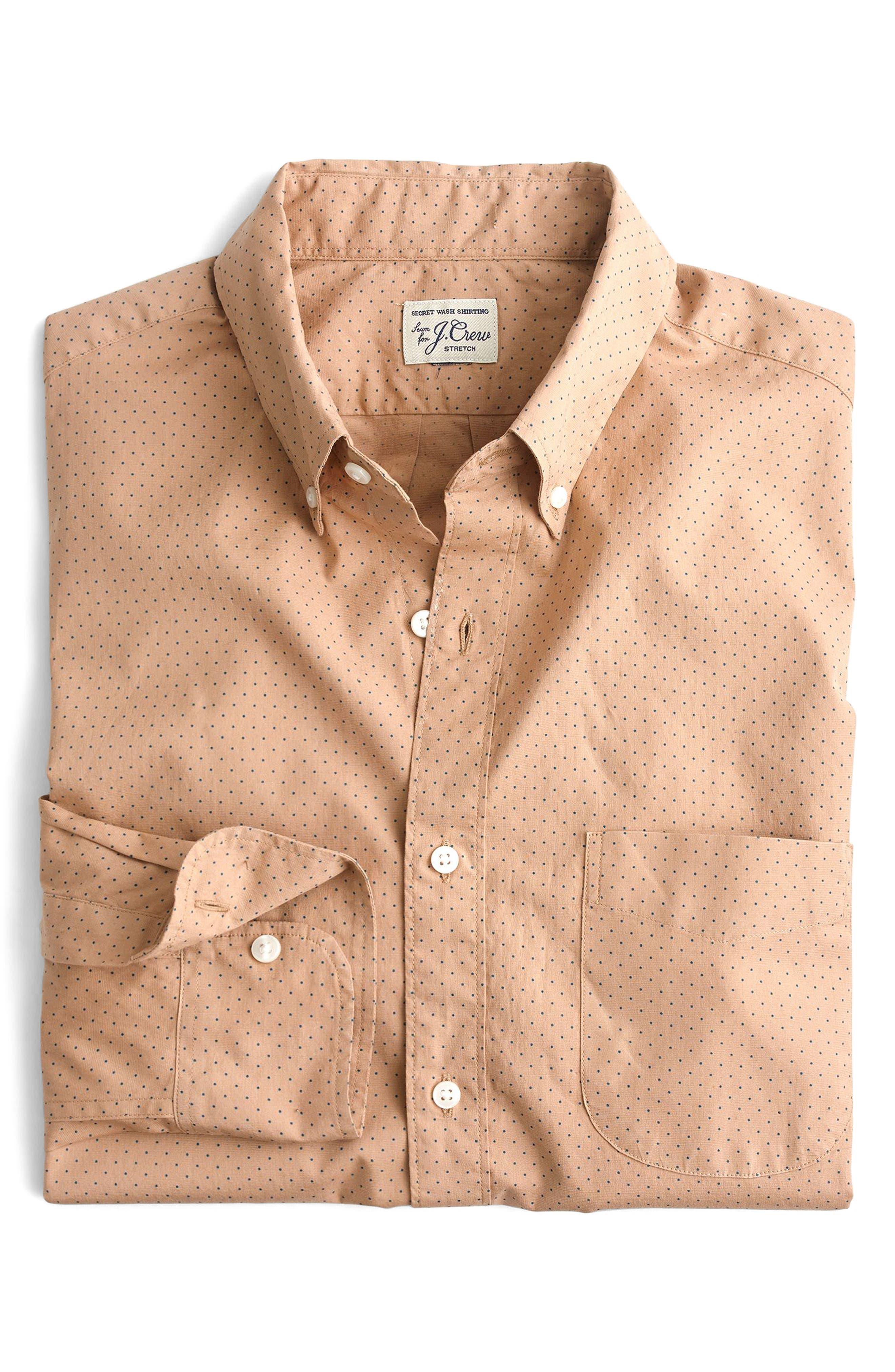 Slim Fit Stretch Secret Wash Dot Sport Shirt,                             Alternate thumbnail 3, color,                             200