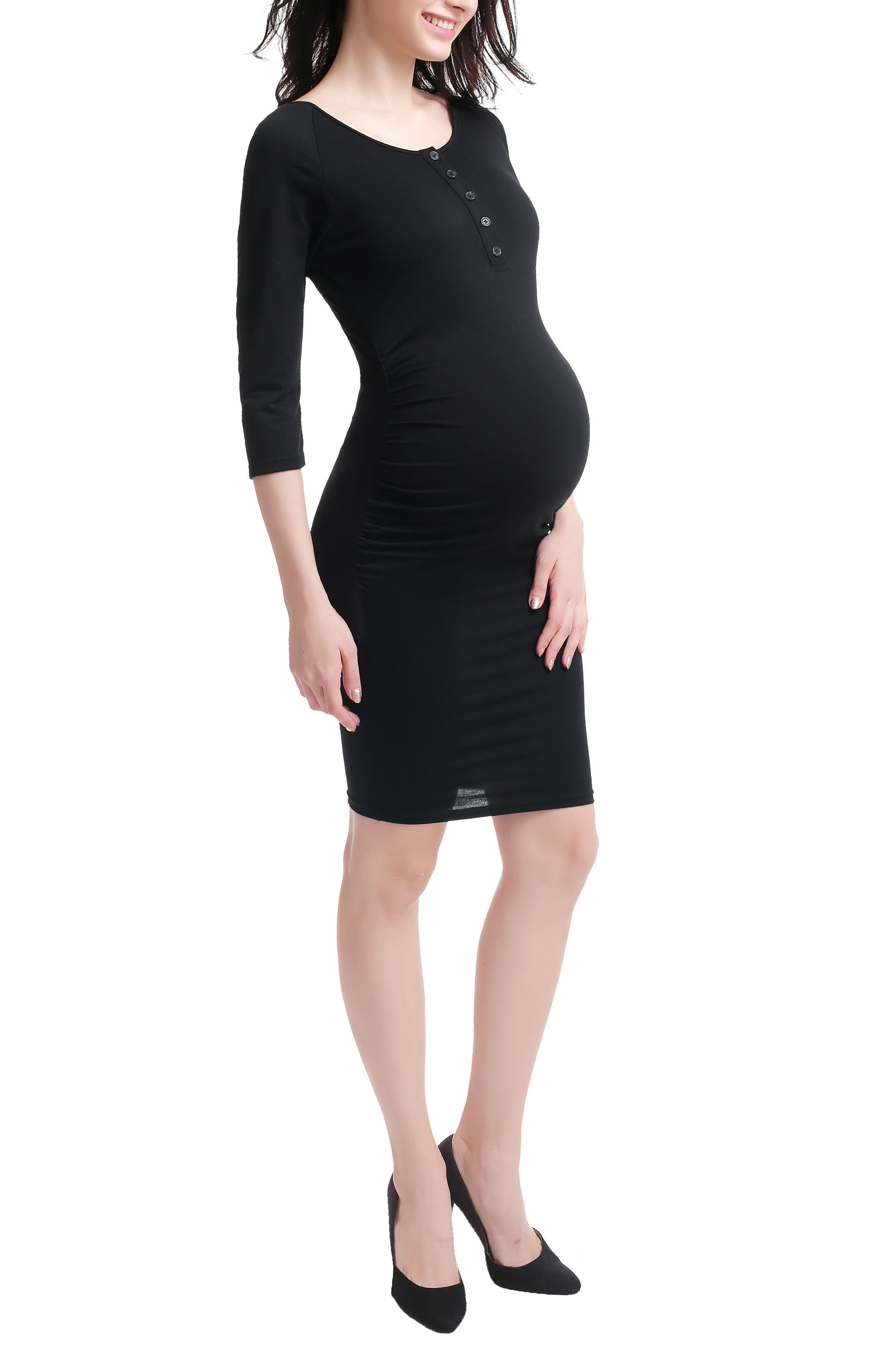 Dani Henley Maternity Dress,                             Alternate thumbnail 3, color,                             001