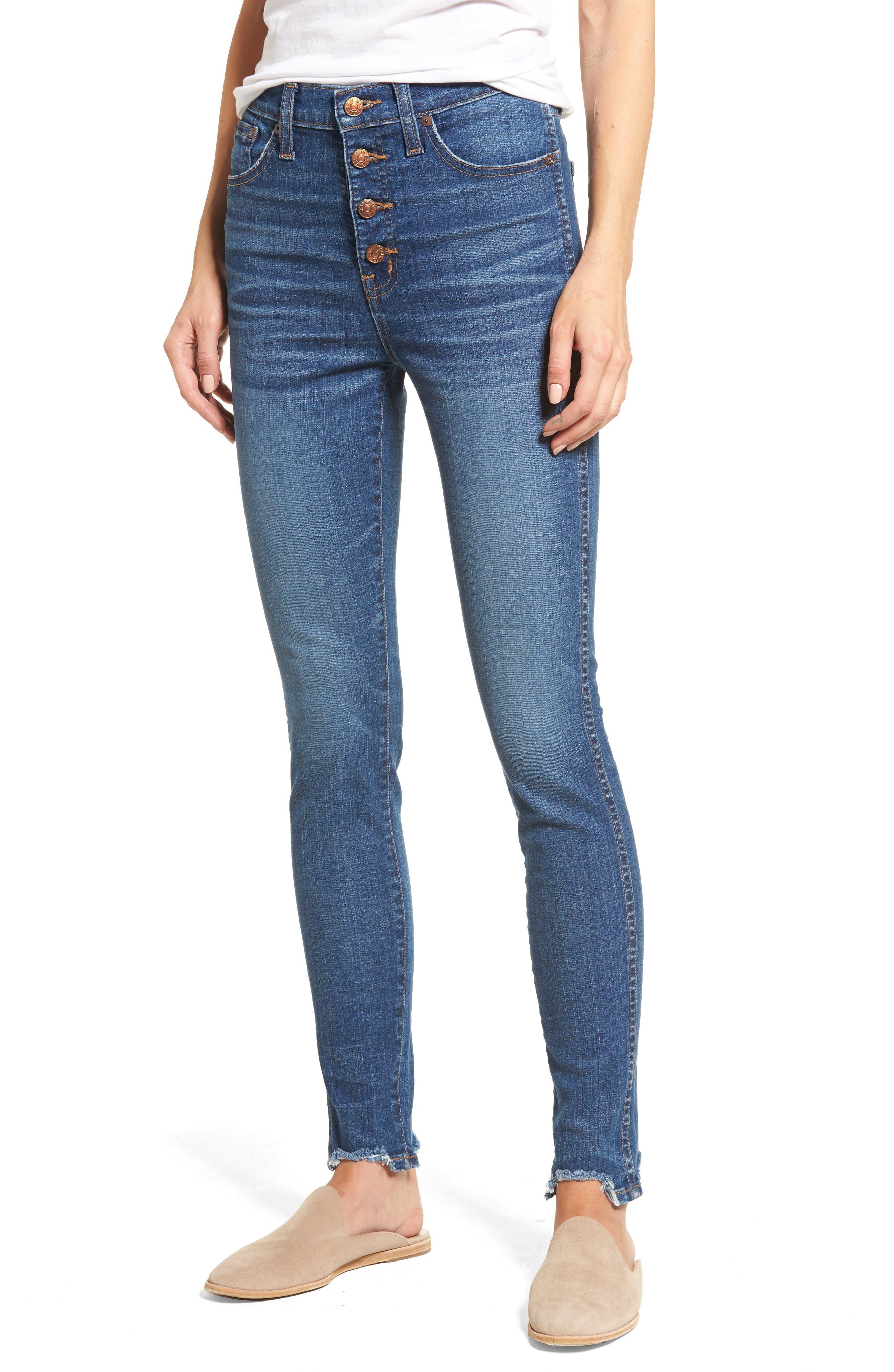 10-Inch Chewed Hem Skinny Jeans,                             Main thumbnail 1, color,                             400