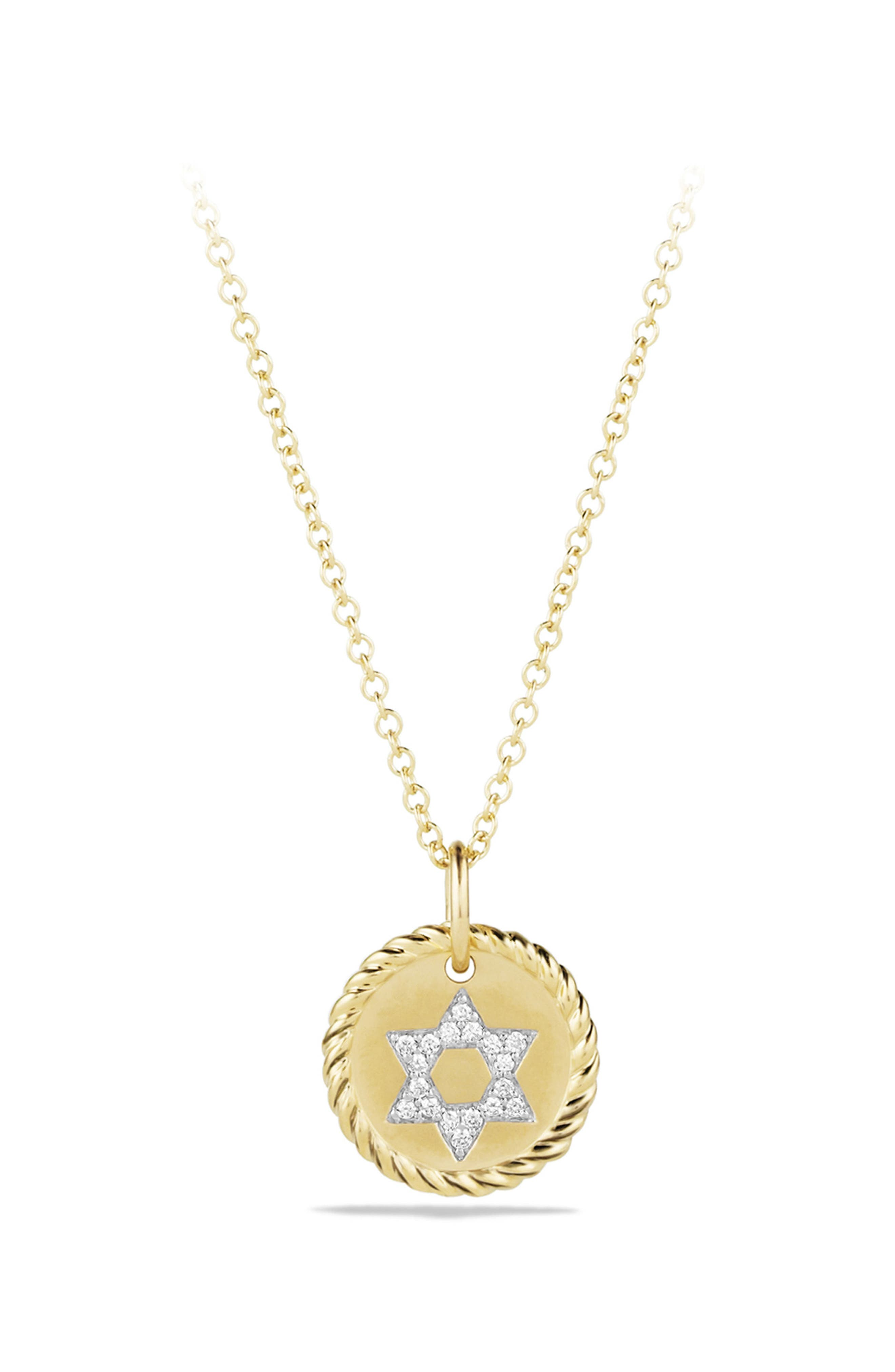 'Cable Collectibles' Star of David Charm Necklace with Diamonds in Gold,                             Main thumbnail 1, color,                             DIAMOND