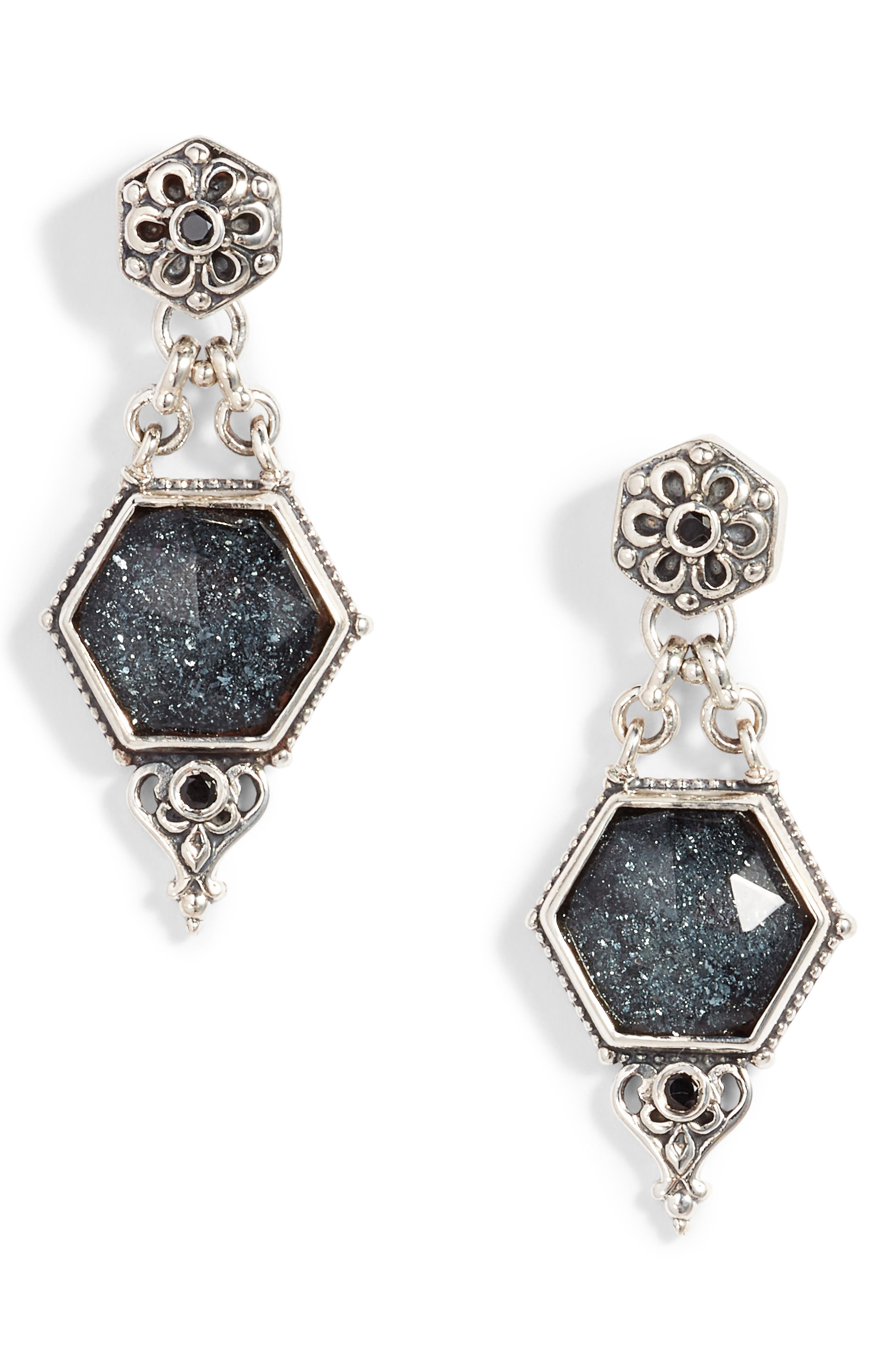 Santorini Hematite Octogan Drop Earrings,                             Main thumbnail 1, color,                             SILVER/ HEMATITE