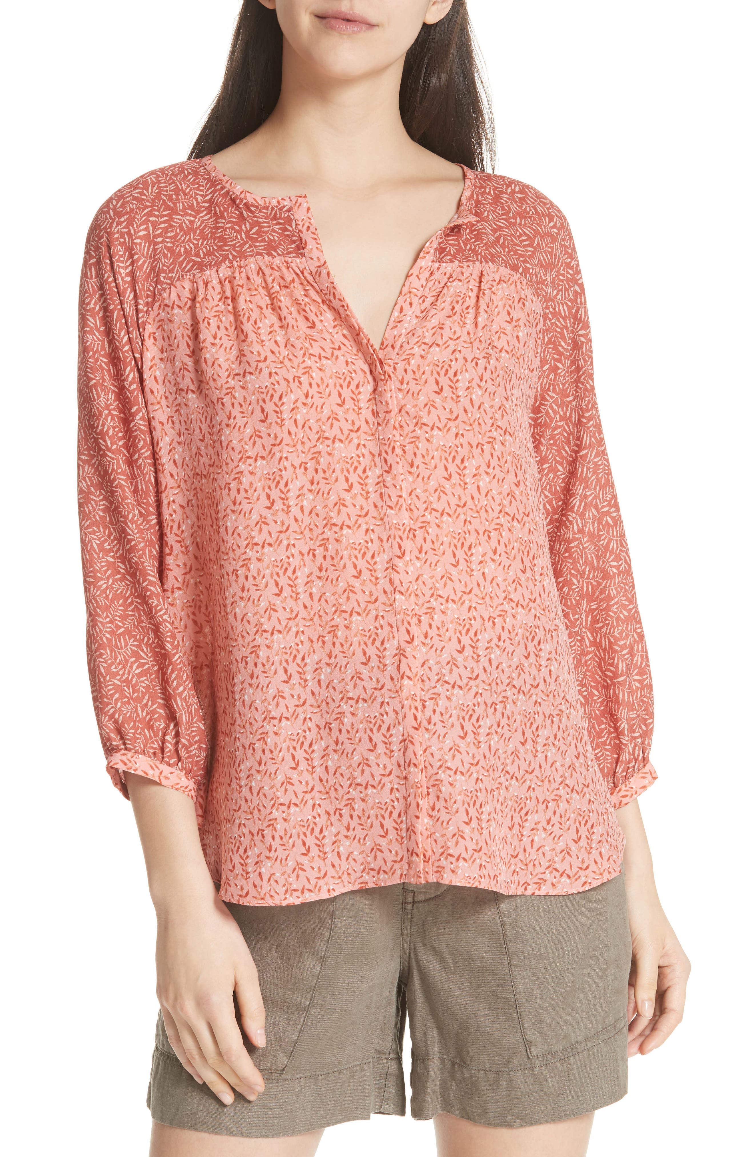JOIE Jafeth Reverse Pattern Silk Peasant Top, Main, color, 609