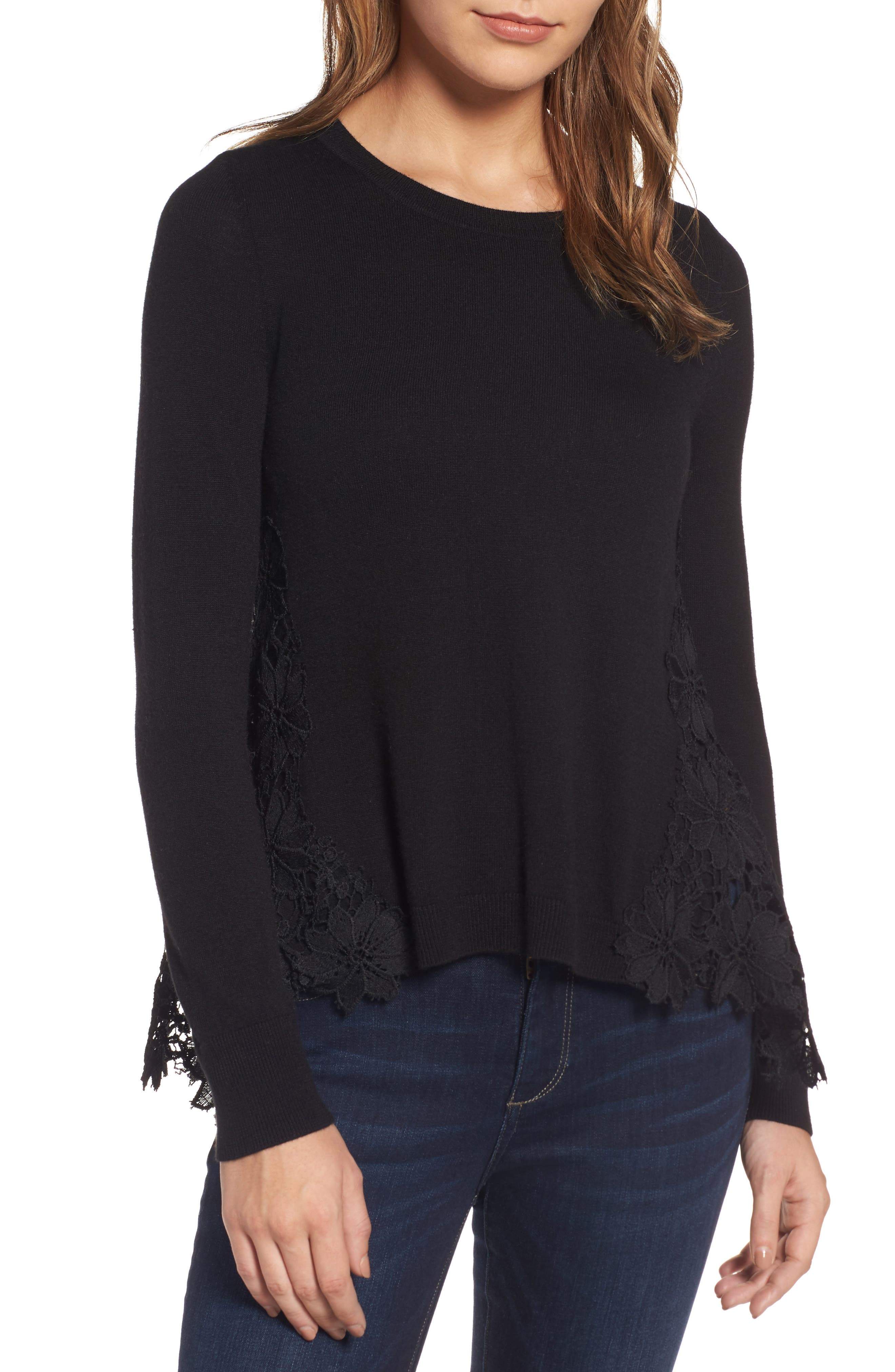 Lace Back Sweater,                             Alternate thumbnail 2, color,                             001