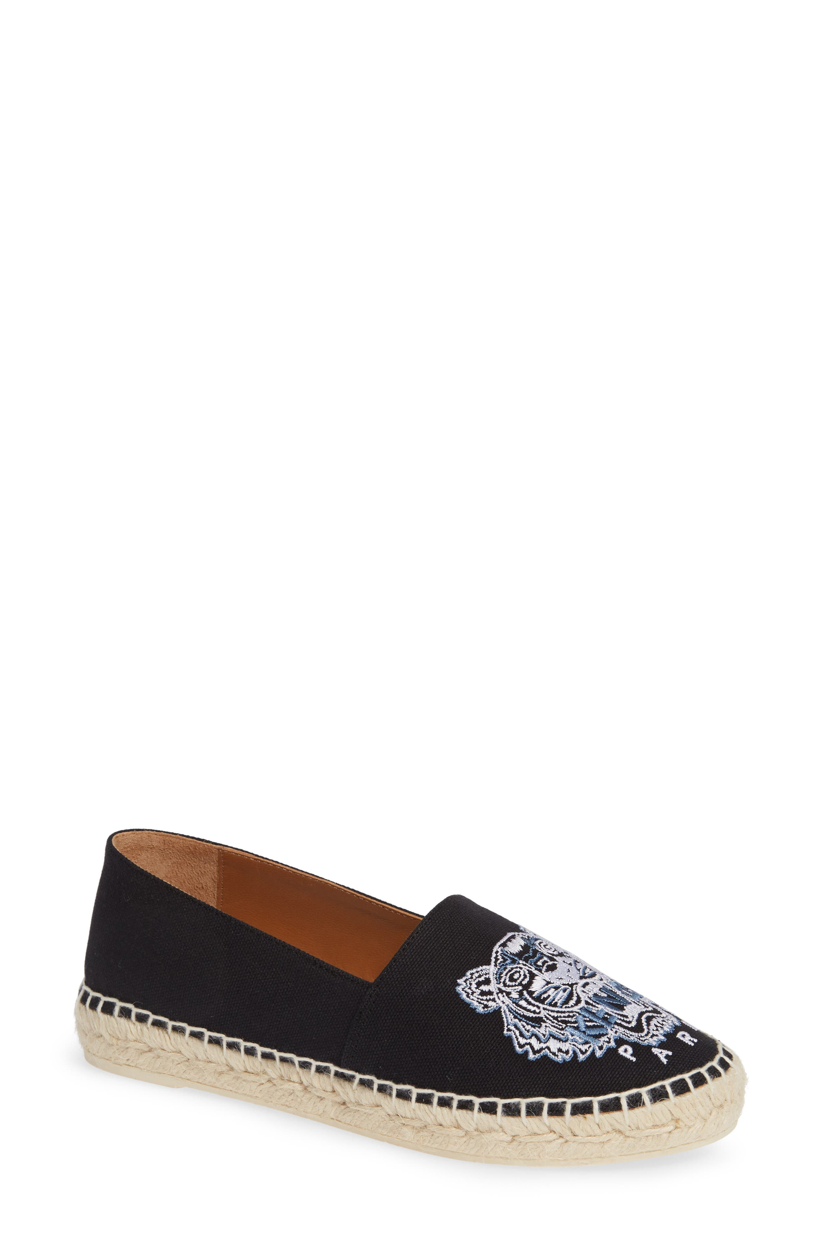 KENZO,                             White Tiger Embroidered Espadrille,                             Main thumbnail 1, color,                             BLACK