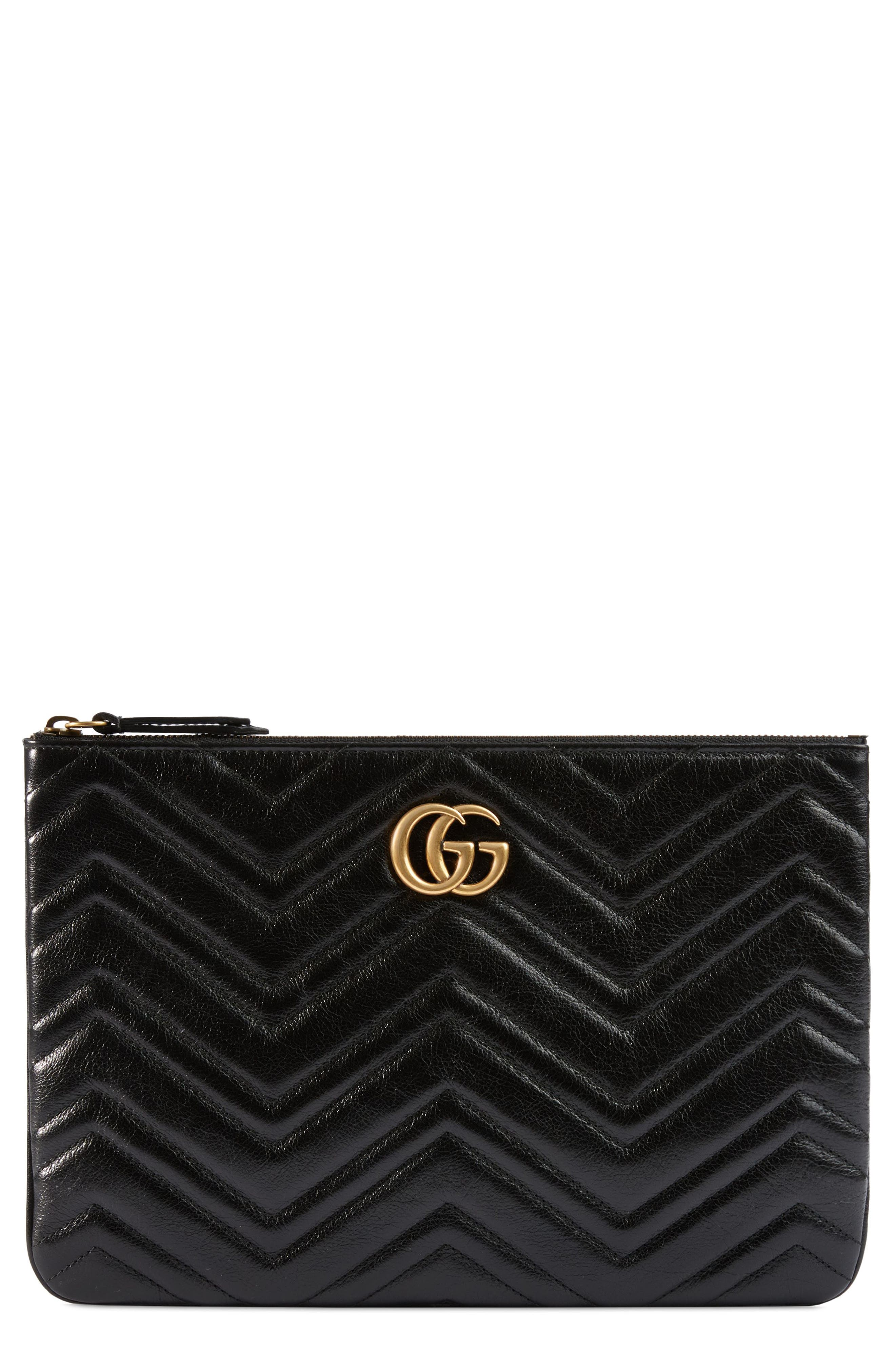GG Marmont 2.0 Matelassé Leather Pouch,                         Main,                         color, NERO/ NERO