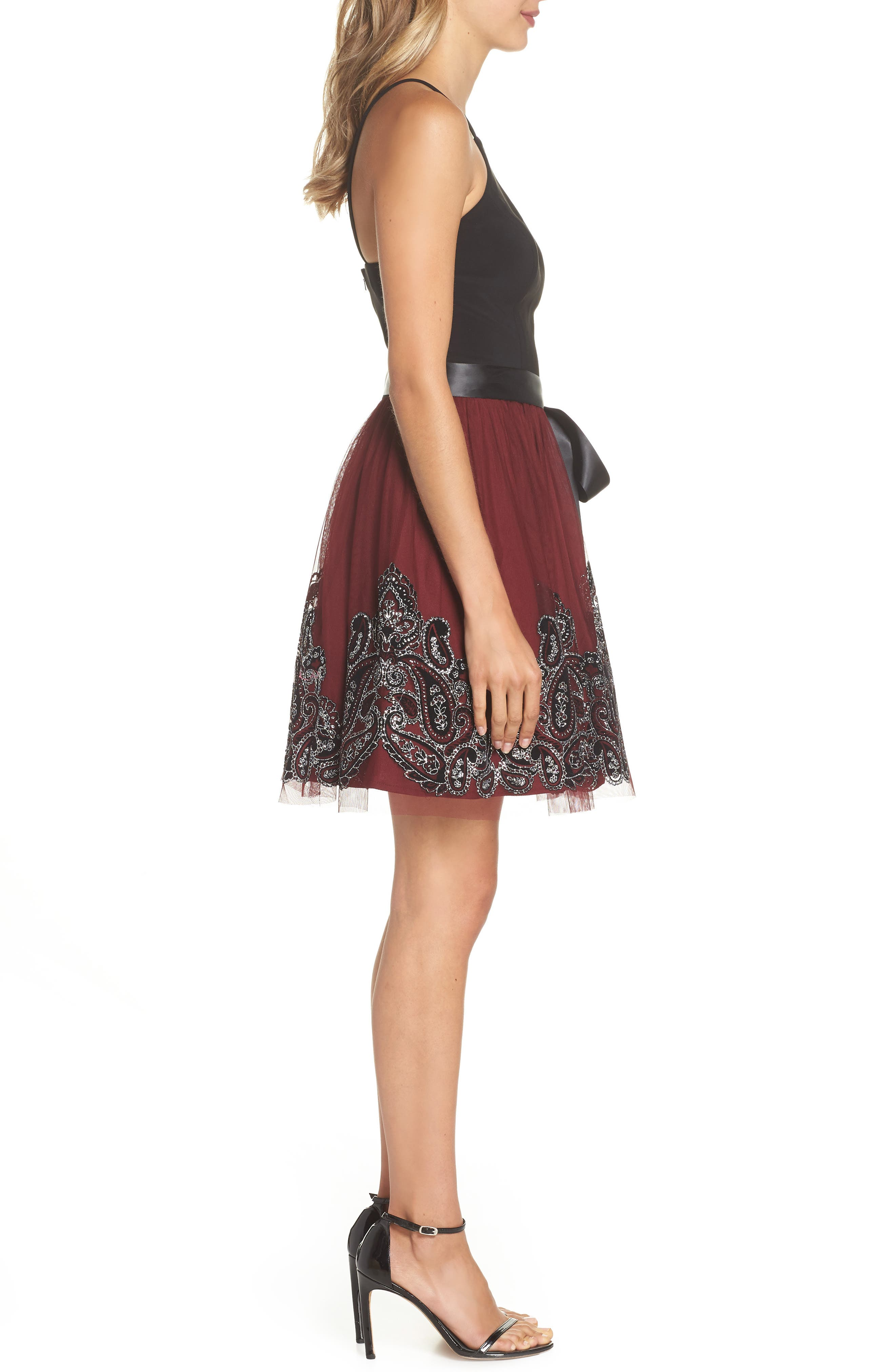 Embroidered Fit & Flare Dress,                             Alternate thumbnail 3, color,                             BLACK/ WINE