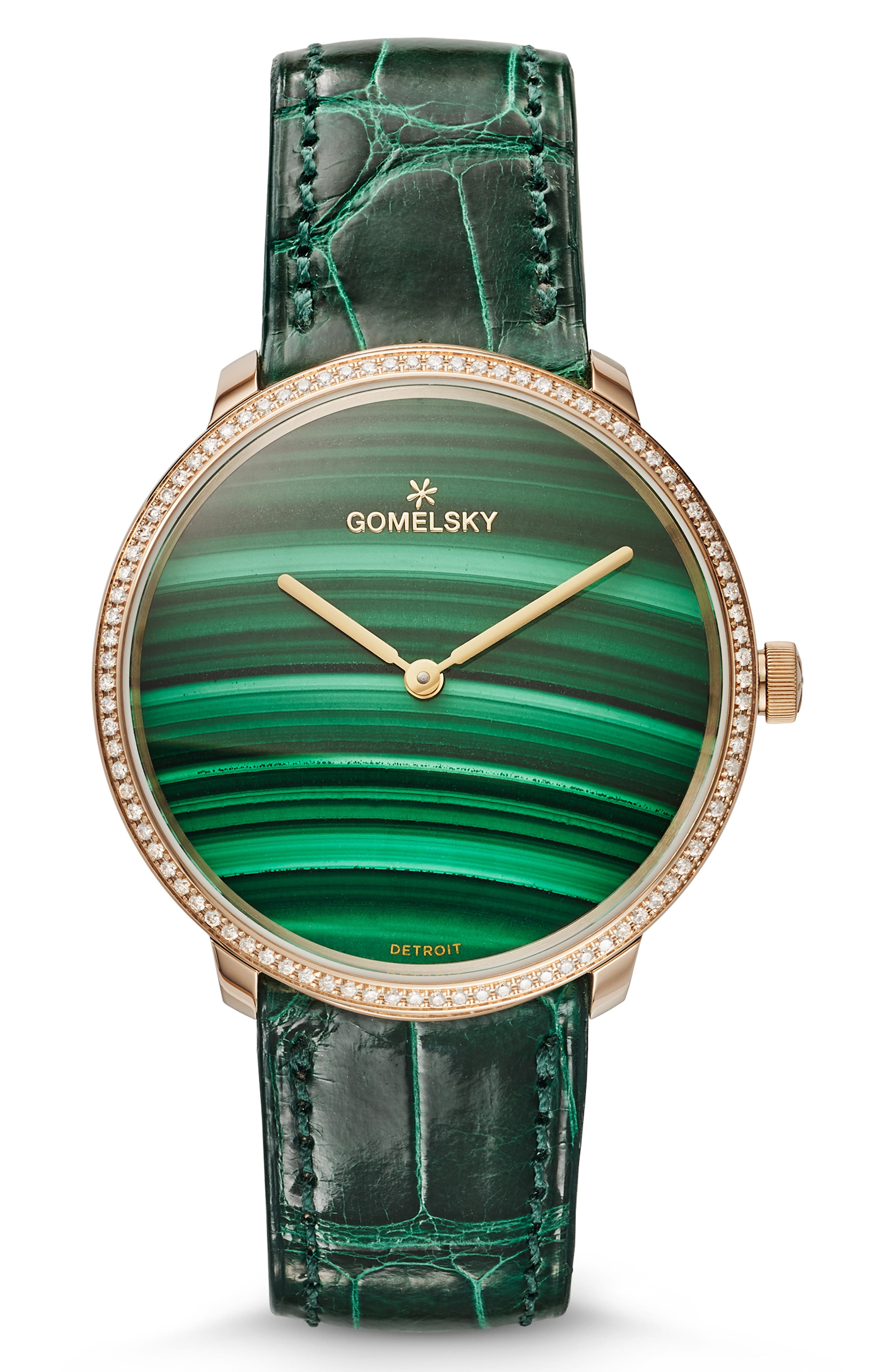 GOMELSKY The Lois Diamond Alligator Strap Watch, 36Mm in Green/ Malachite/ Champagne