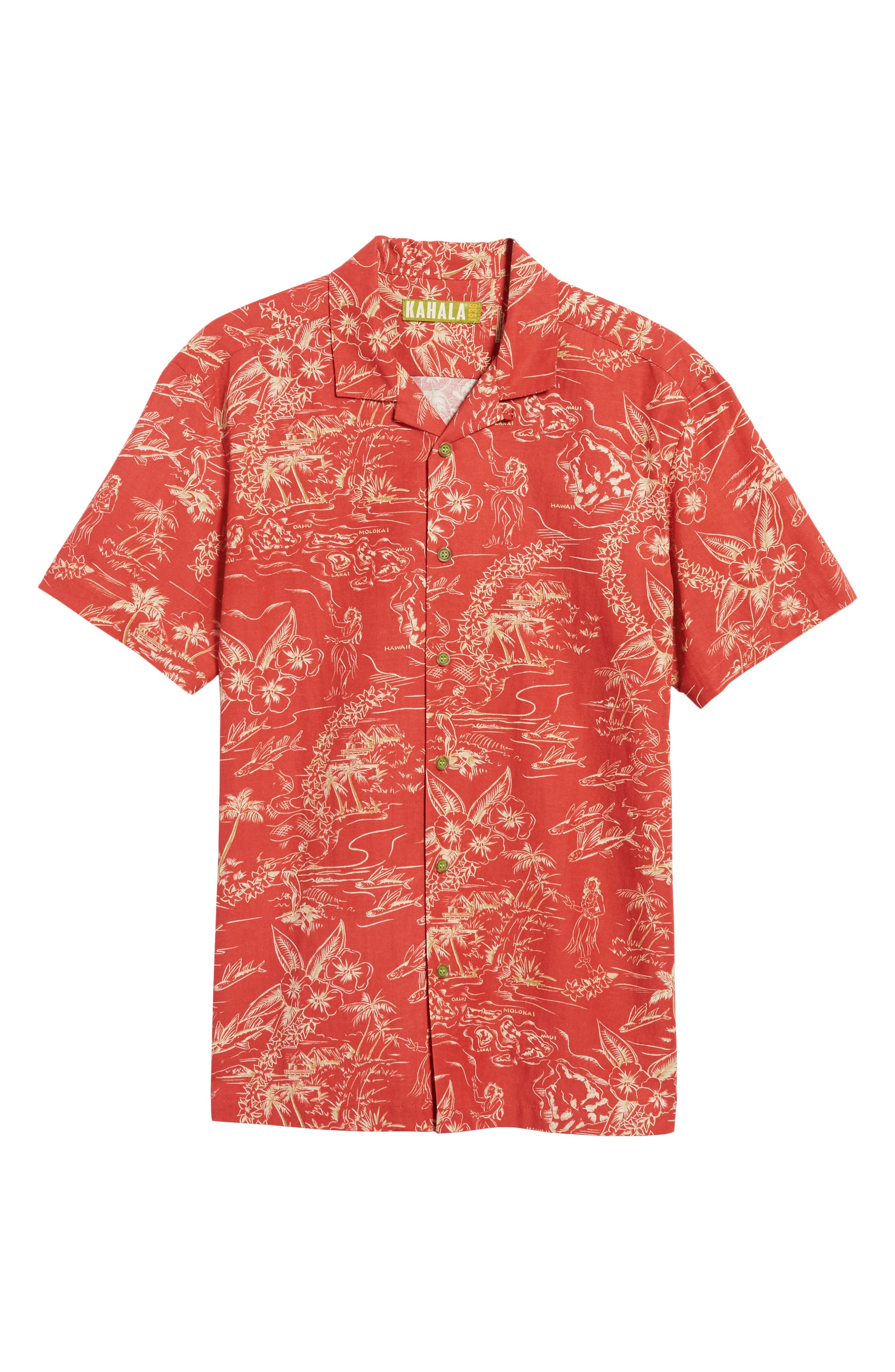 Konohiki Trim Fit Print Sport Shirt,                             Alternate thumbnail 6, color,                             605