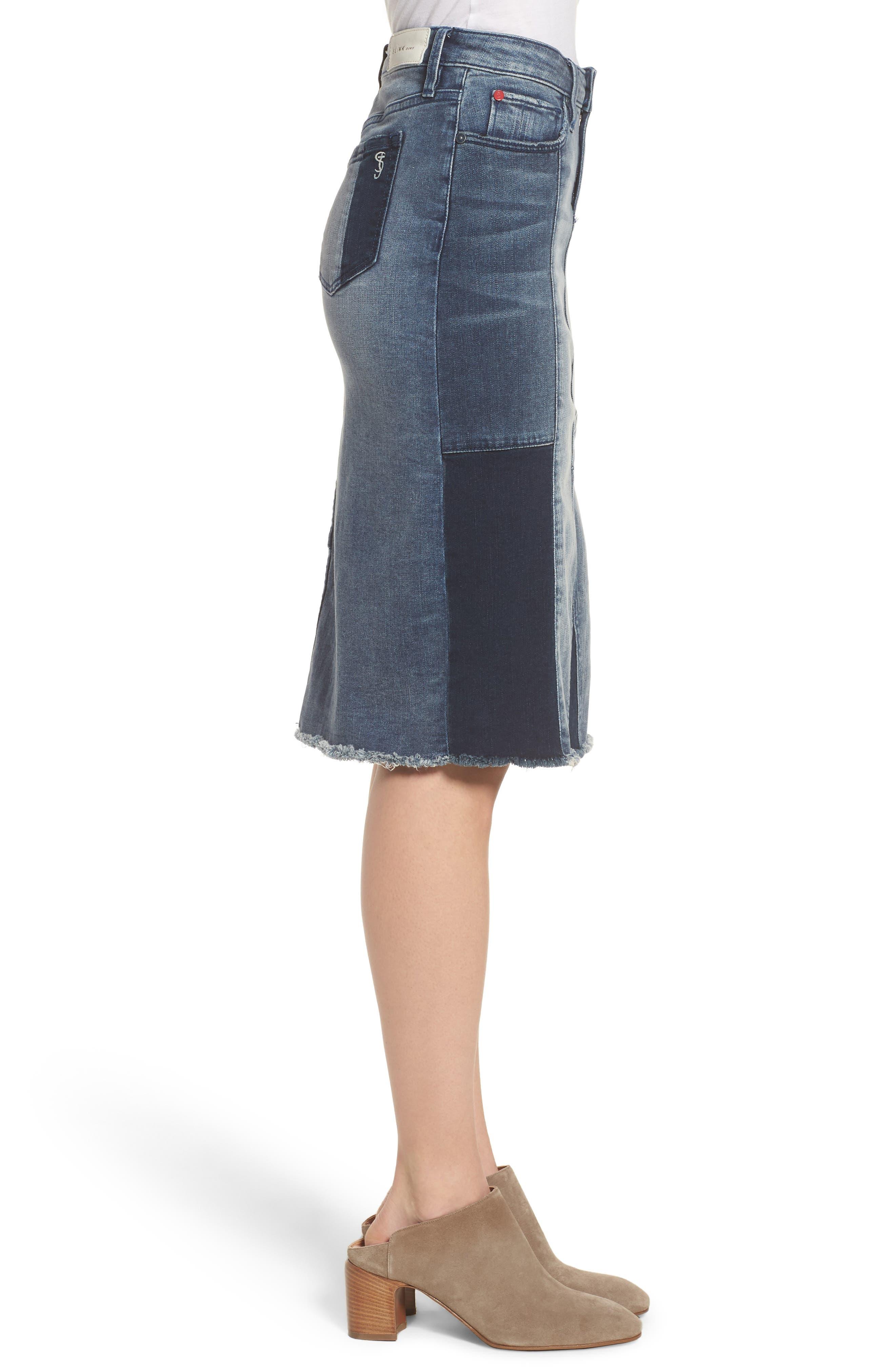Patchwork Denim Skirt,                             Alternate thumbnail 3, color,                             VANESSA