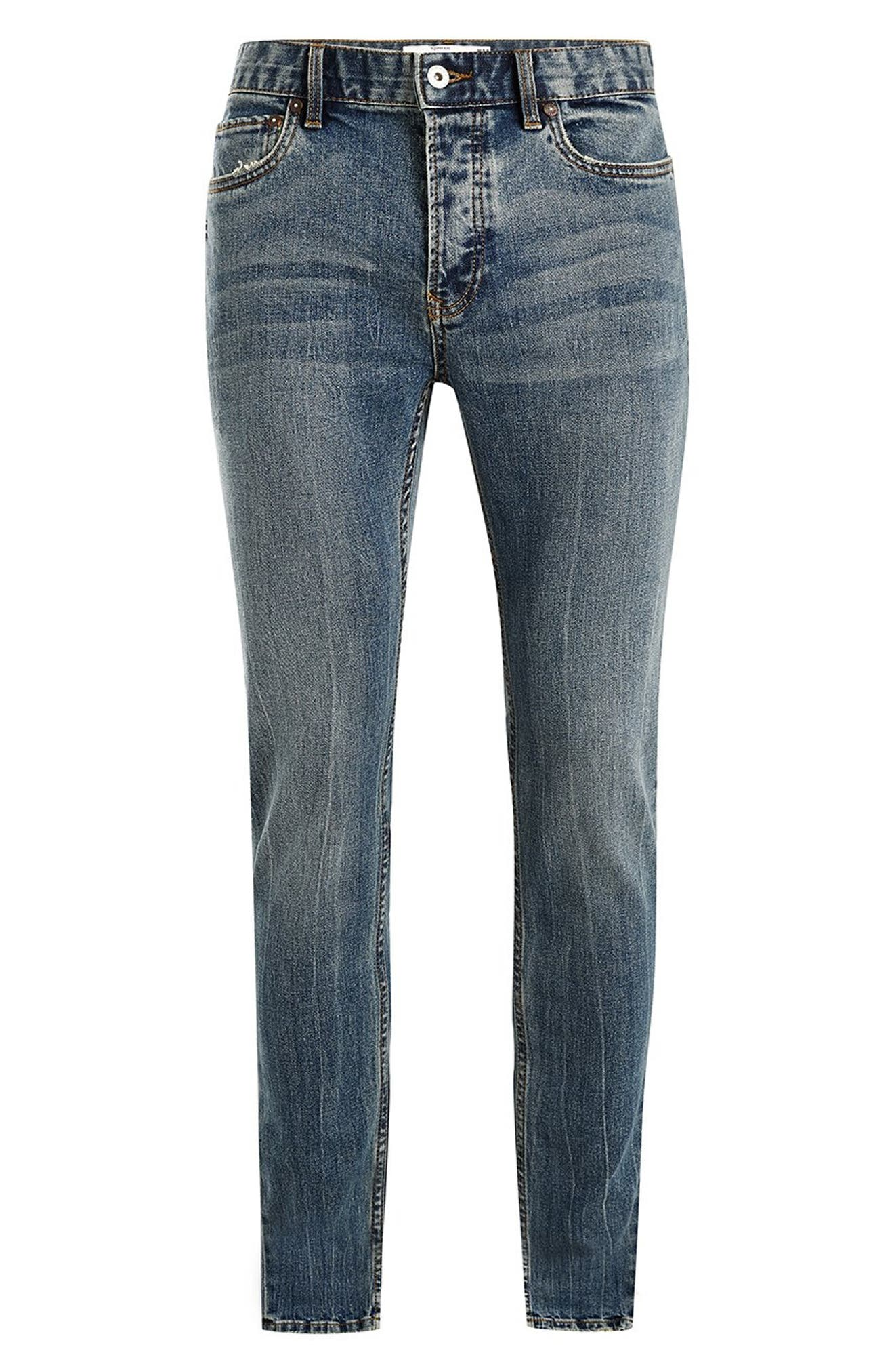 Stretch Skinny Fit Jeans,                             Alternate thumbnail 4, color,                             BLUE