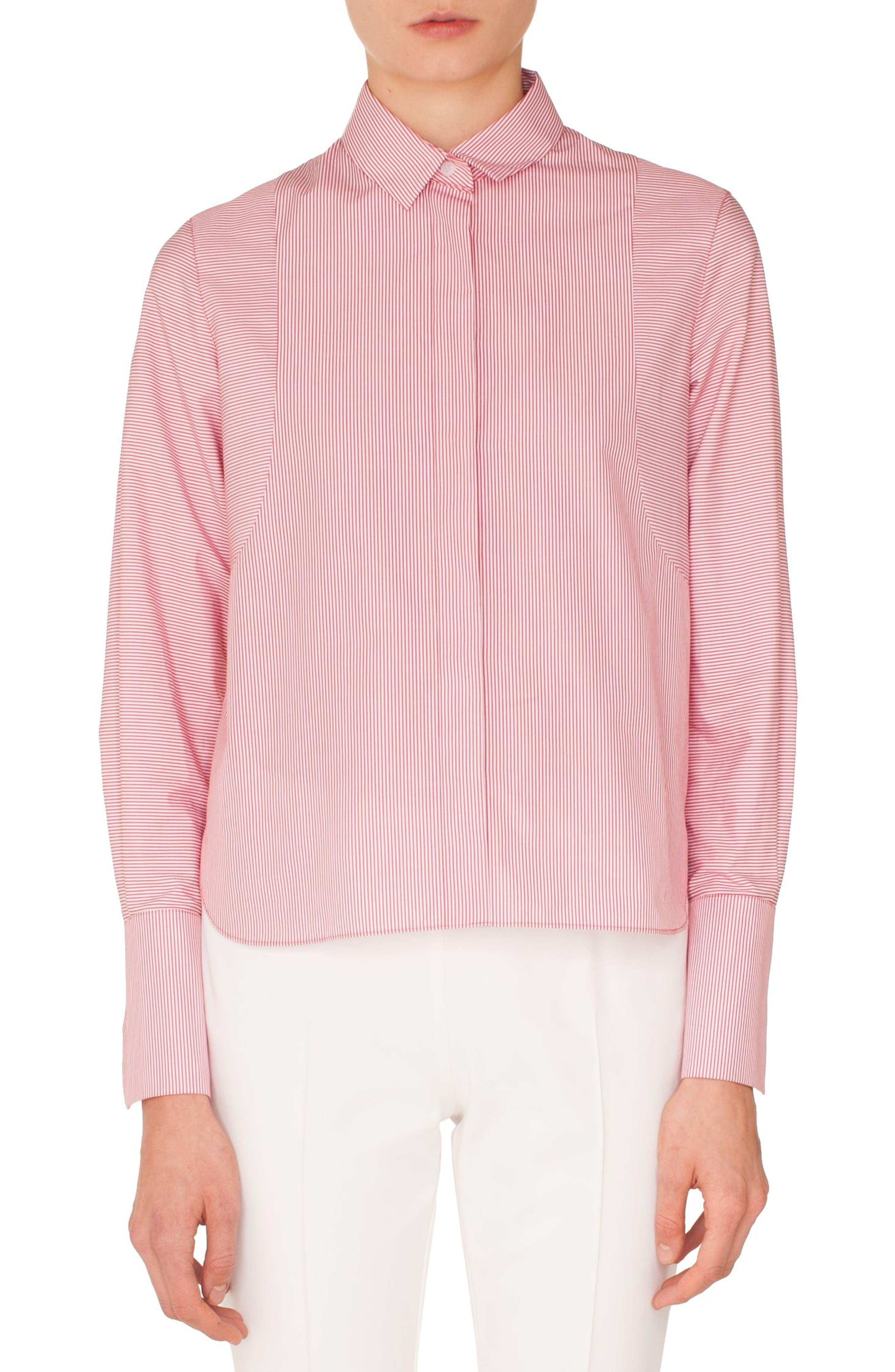 Stripe Cotton Shirt,                             Main thumbnail 1, color,                             LIPSTICK-CREAM