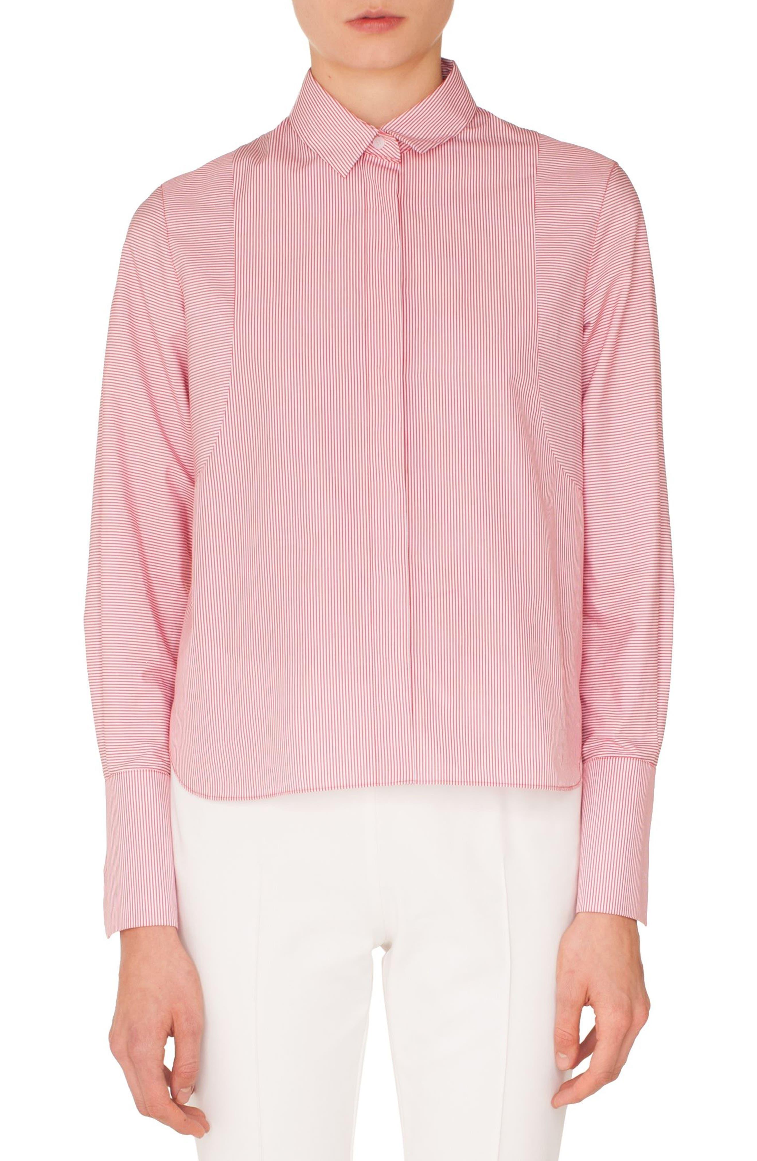 Stripe Cotton Shirt,                         Main,                         color, LIPSTICK-CREAM