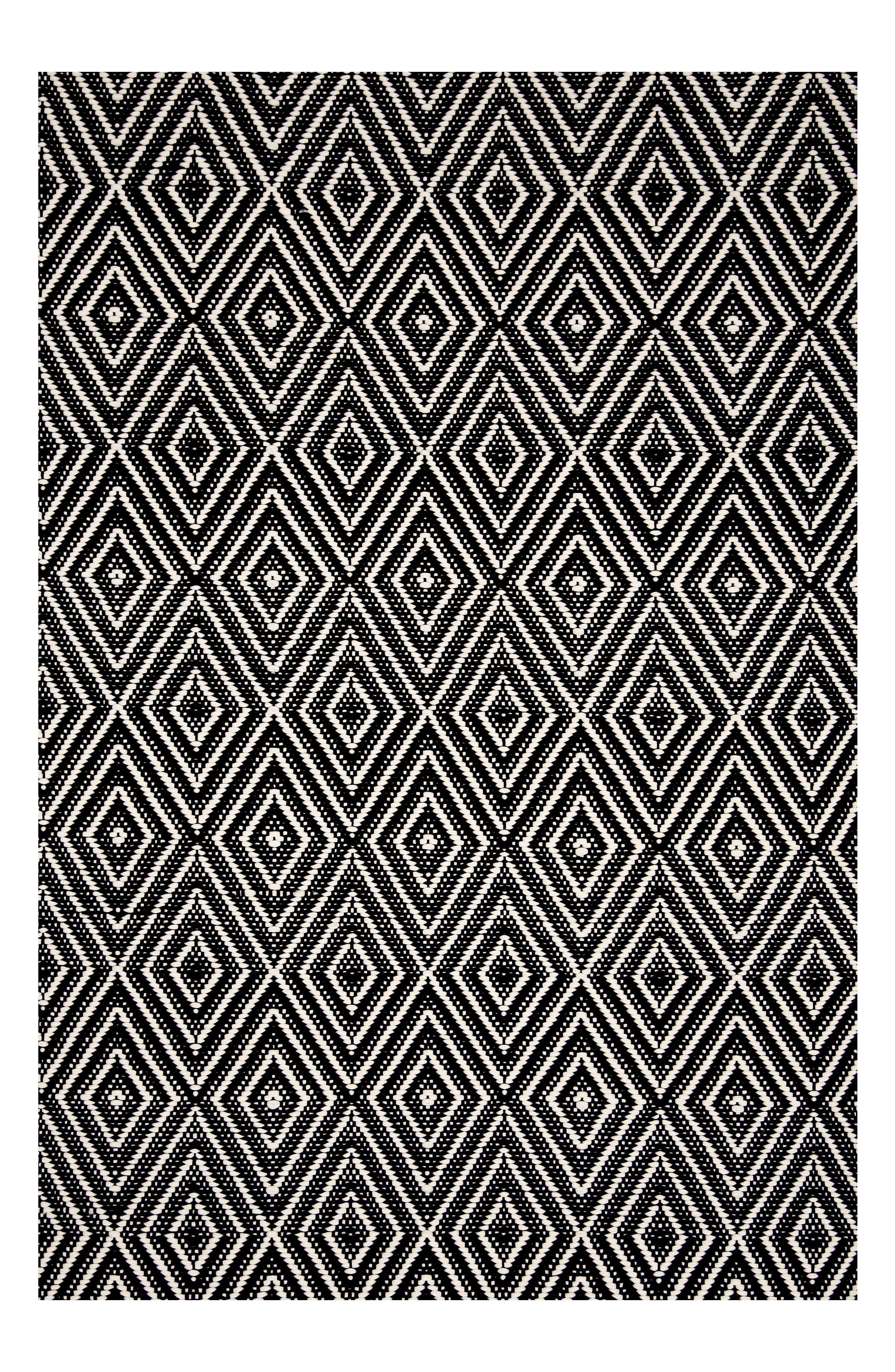 DASH & ALBERT,                             Diamond Indoor/Outdoor Rug,                             Main thumbnail 1, color,                             BLACK